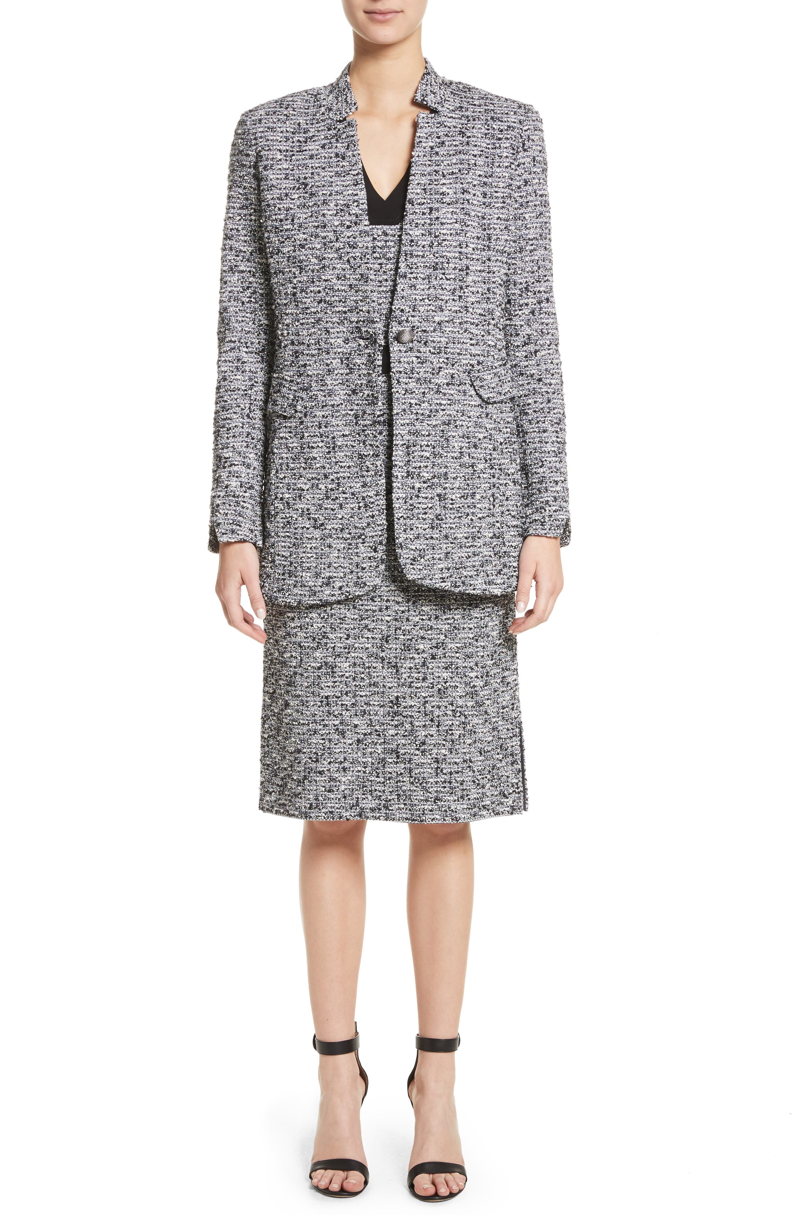 Micro Tweed Belted Dress,                             Alternate thumbnail 7, color,                             001