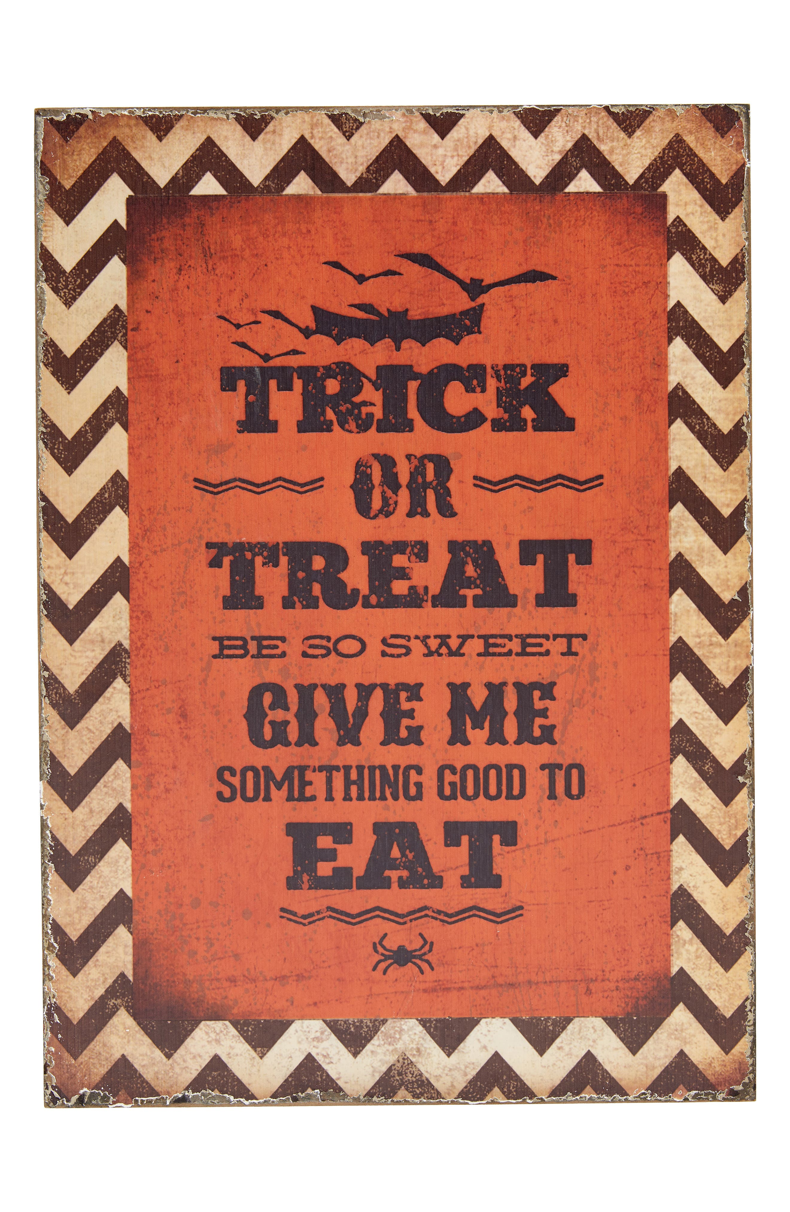 Trick or Treat Wood Sign,                         Main,                         color, ORANGE
