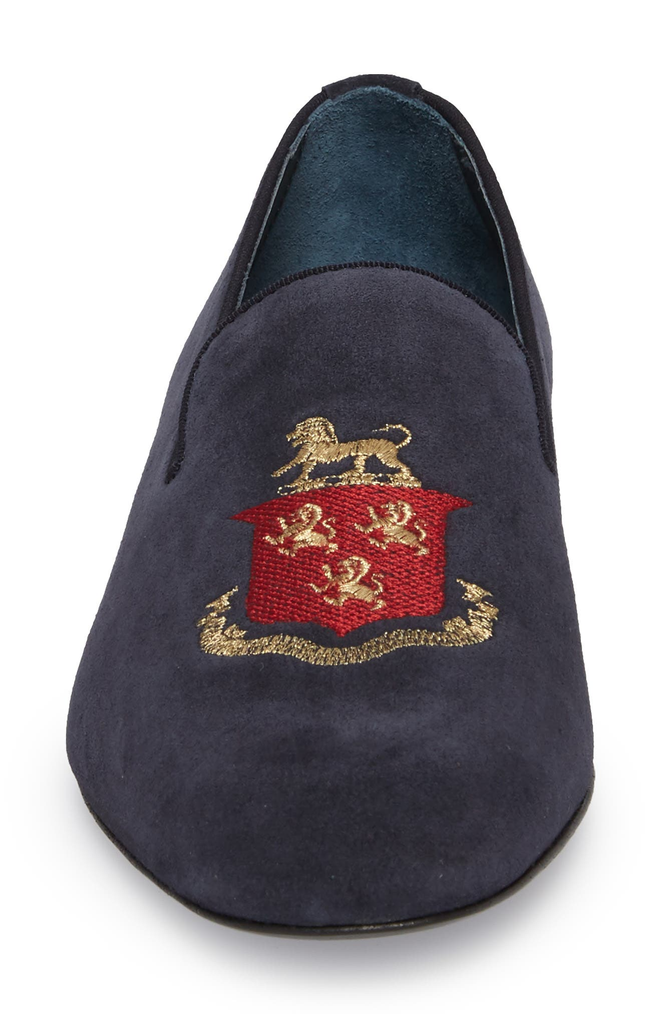 Altos Embroidered Venetian Loafer,                             Alternate thumbnail 4, color,                             NAVY