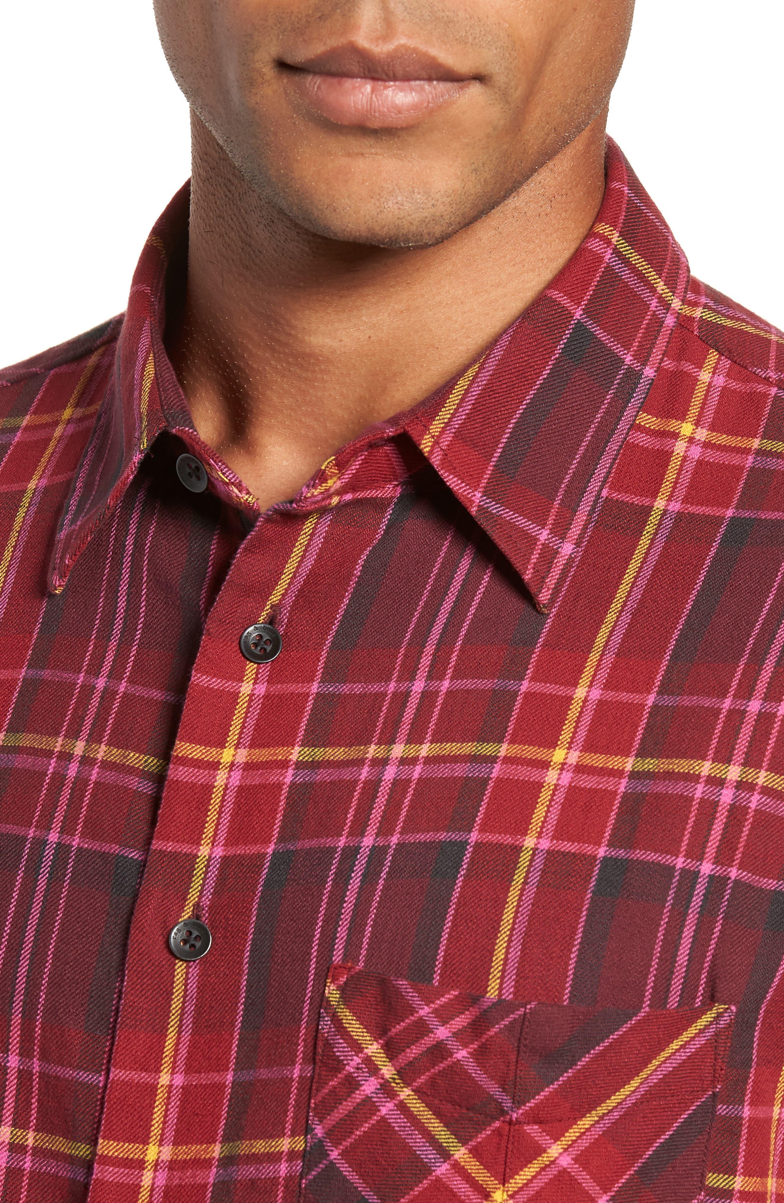 Fit 3 Plaid Classic Beach Shirt,                             Alternate thumbnail 2, color,                             BURGUNDY
