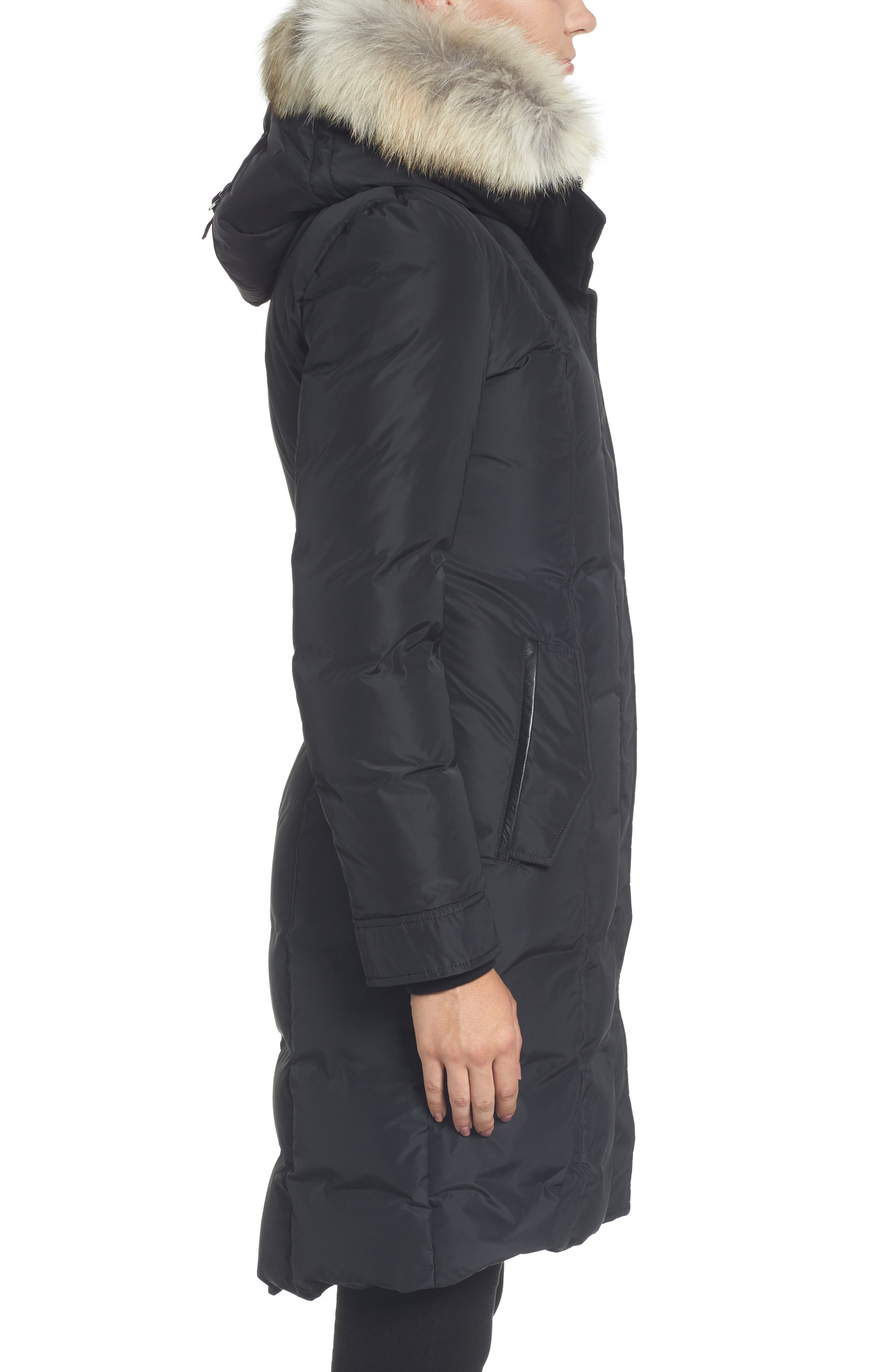 Hooded Down Parka with Genuine Coyote & Rabbit Fur Trim,                             Alternate thumbnail 3, color,                             001