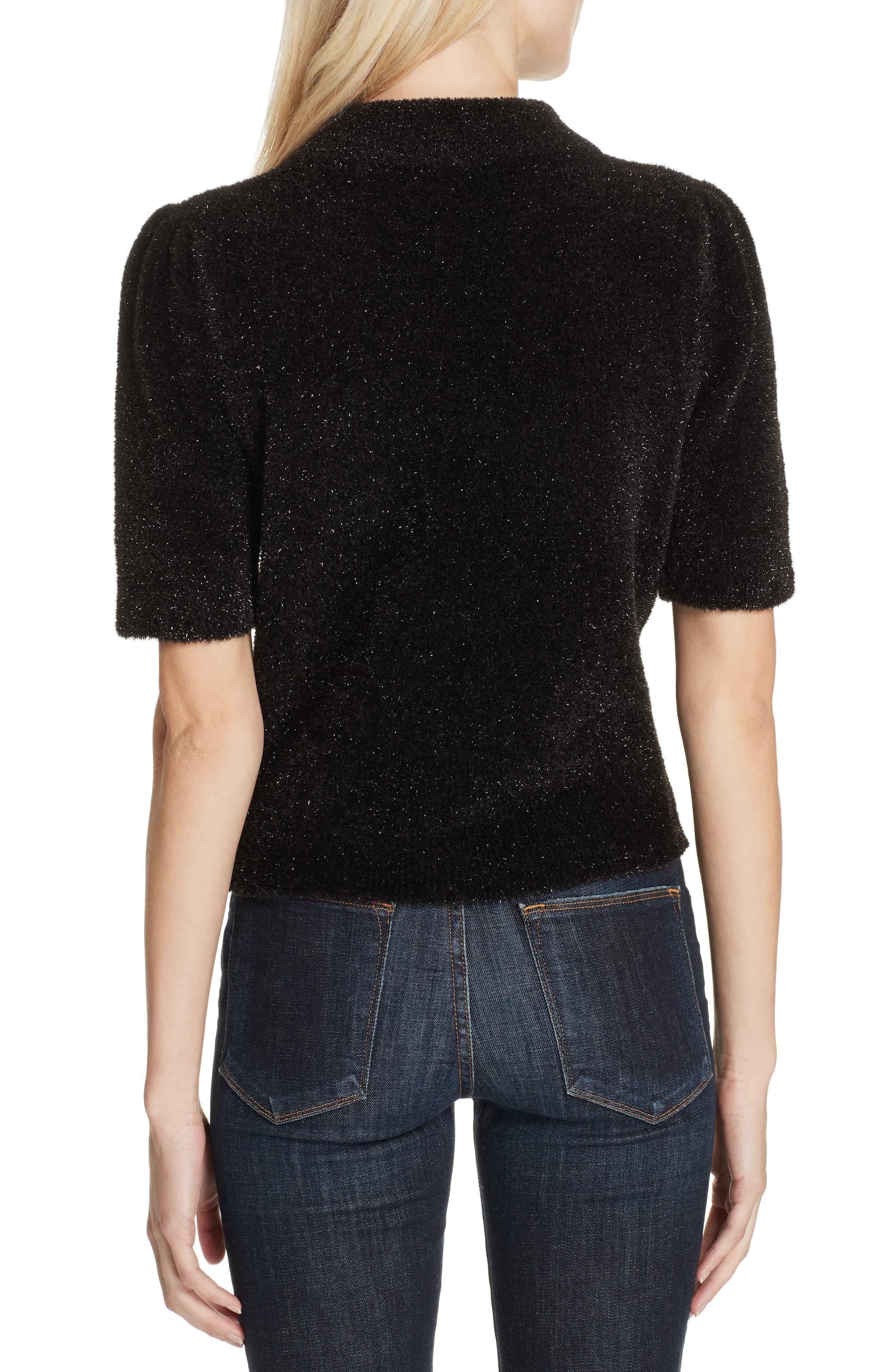metallic fuzzy sweater,                             Alternate thumbnail 2, color,                             BLACK