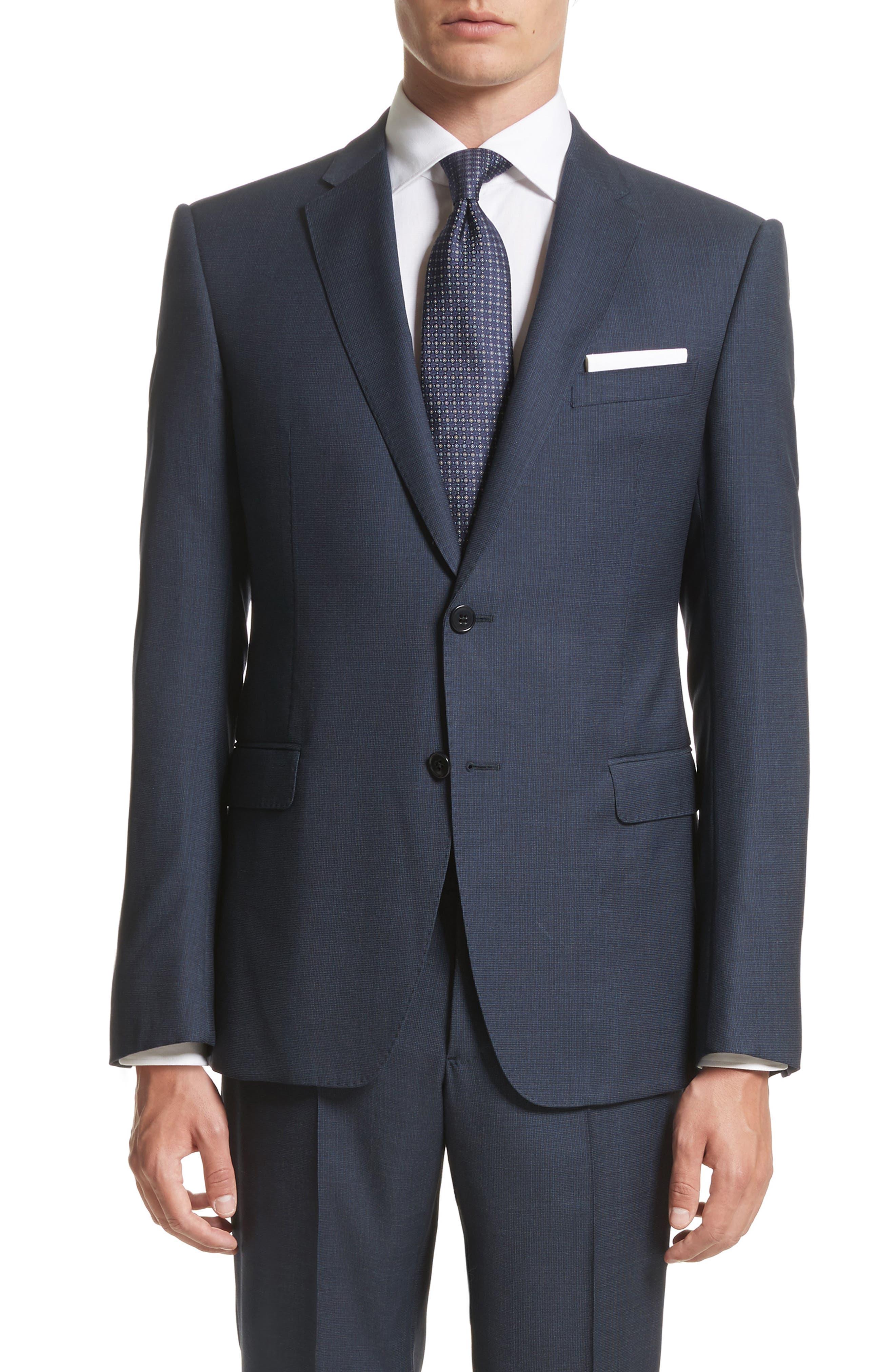 Emporio Armani M-Line Trim Fit Solid Wool Suit,                             Alternate thumbnail 5, color,