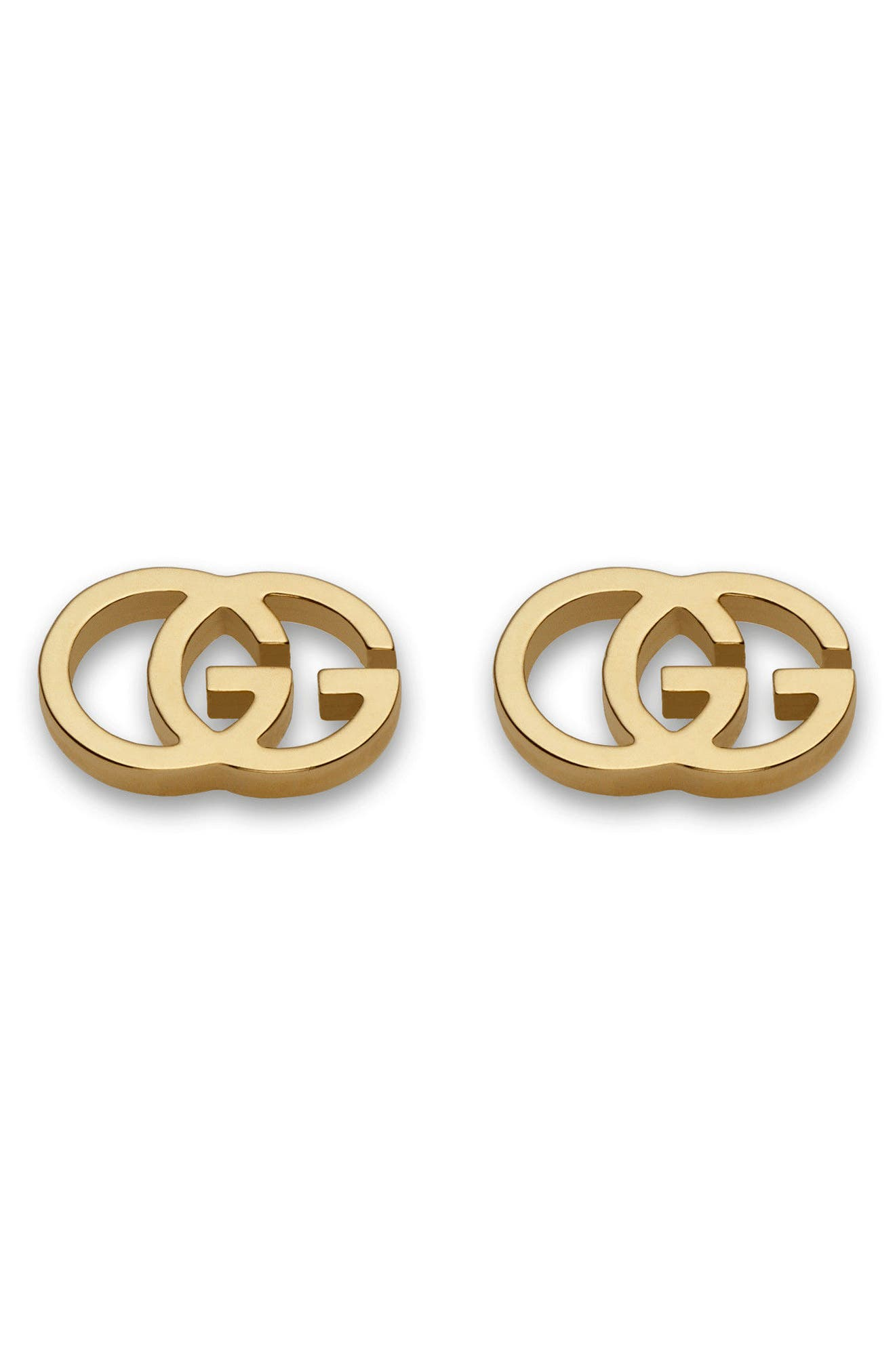 Double-G Stud Earrings,                         Main,                         color, YELLOW GOLD