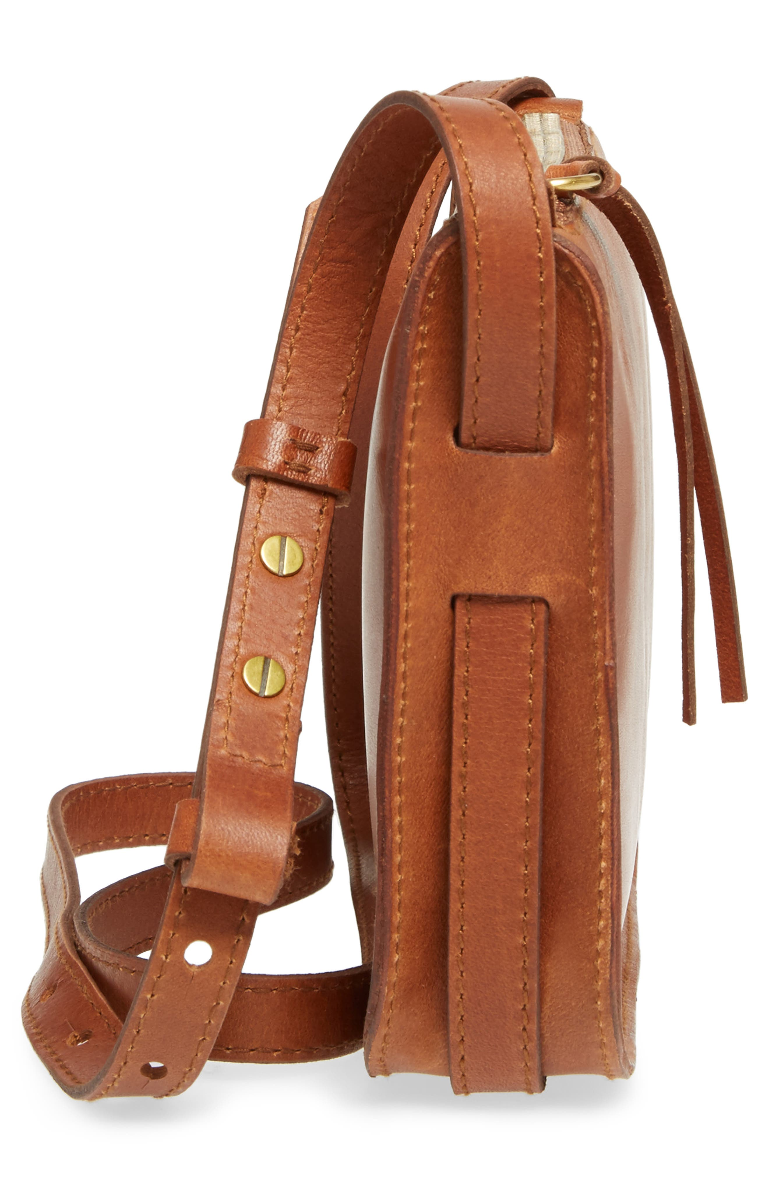 The Simple Leather Crossbody Bag,                             Alternate thumbnail 5, color,                             ENGLISH SADDLE