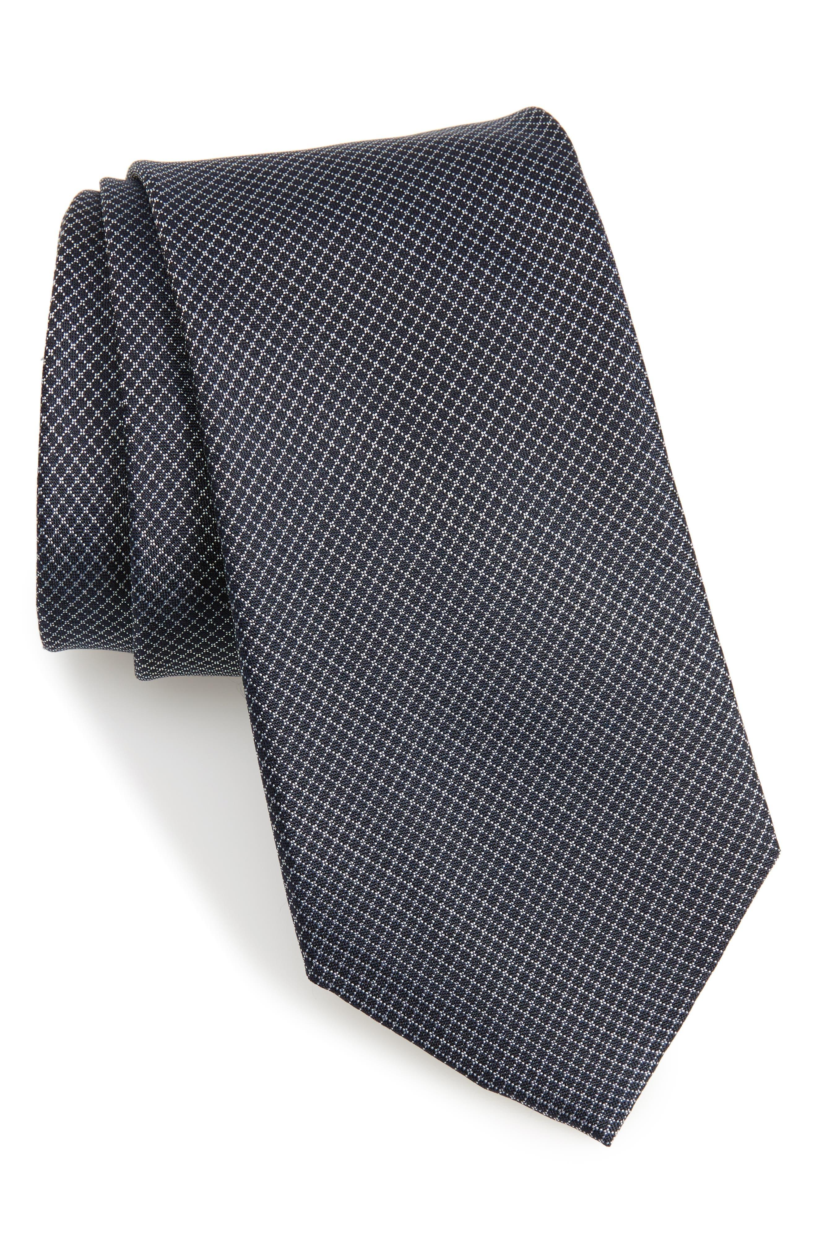 Badini Mini Check Silk Tie, Main, color, 410