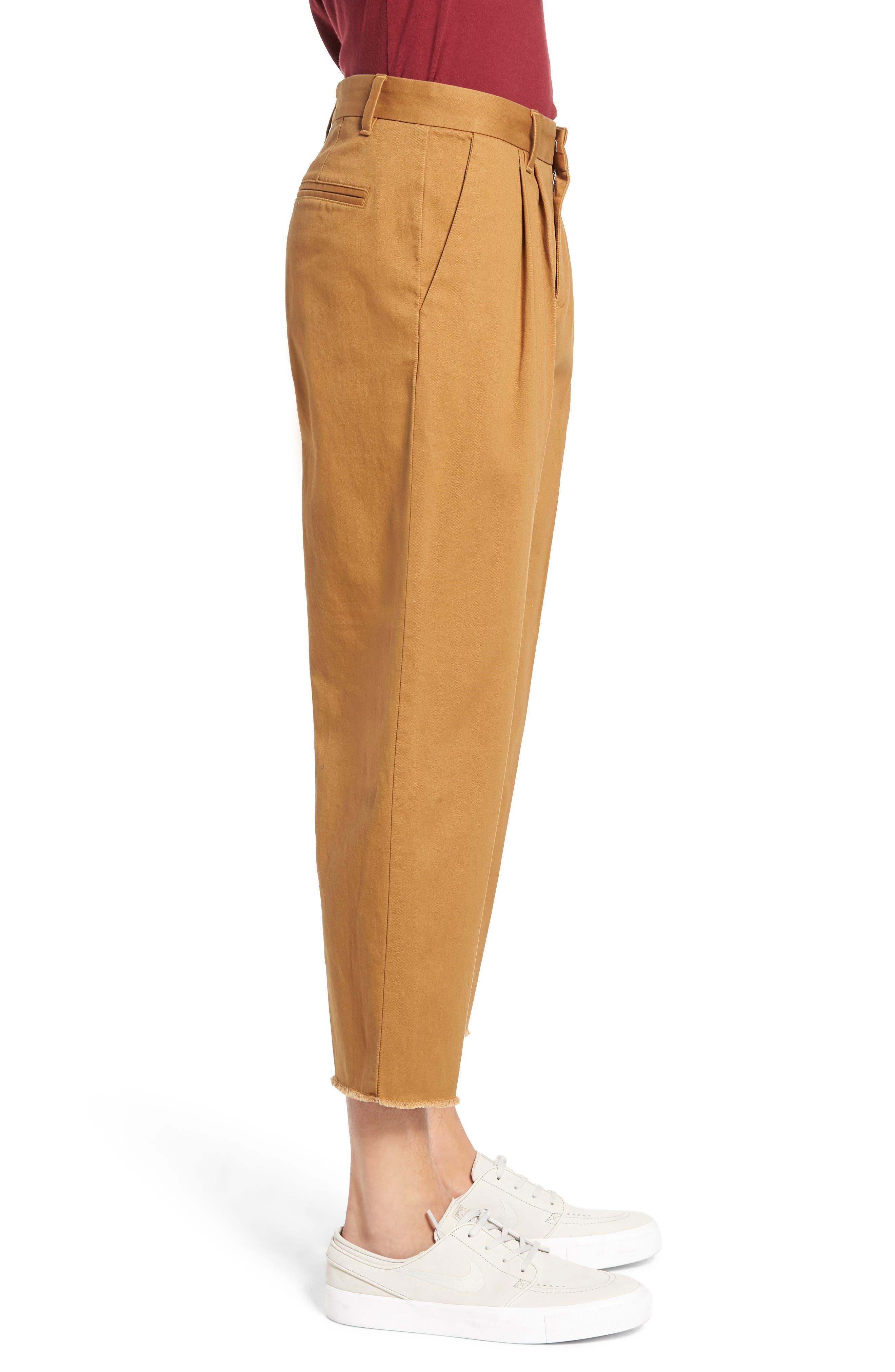 Pleated Crop Pants,                             Alternate thumbnail 3, color,                             BROWN DIJON
