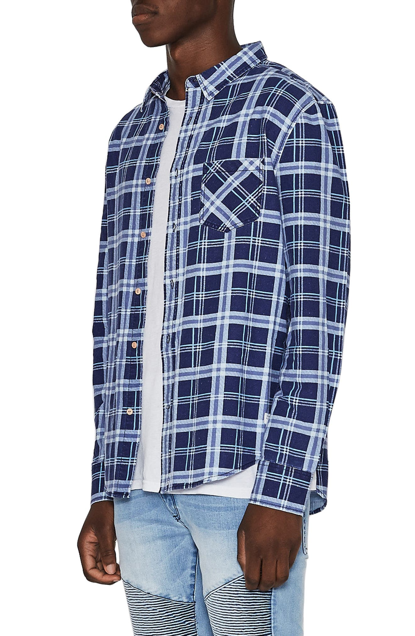 Issued Trim Fit Woven Shirt,                             Alternate thumbnail 3, color,                             BLUE CHECK
