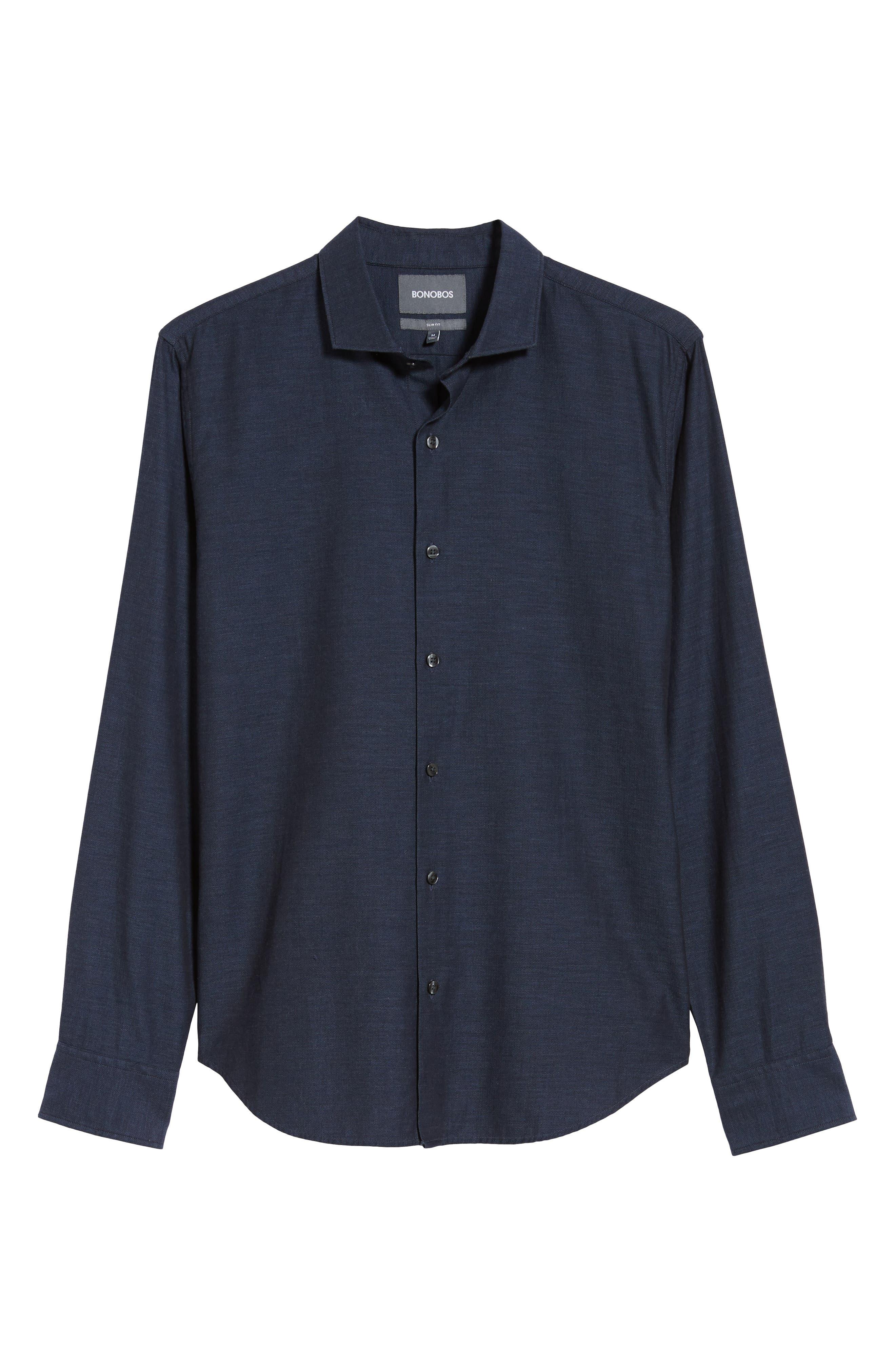 Unbutton Down Slim Fit Sport Shirt,                             Alternate thumbnail 5, color,                             400