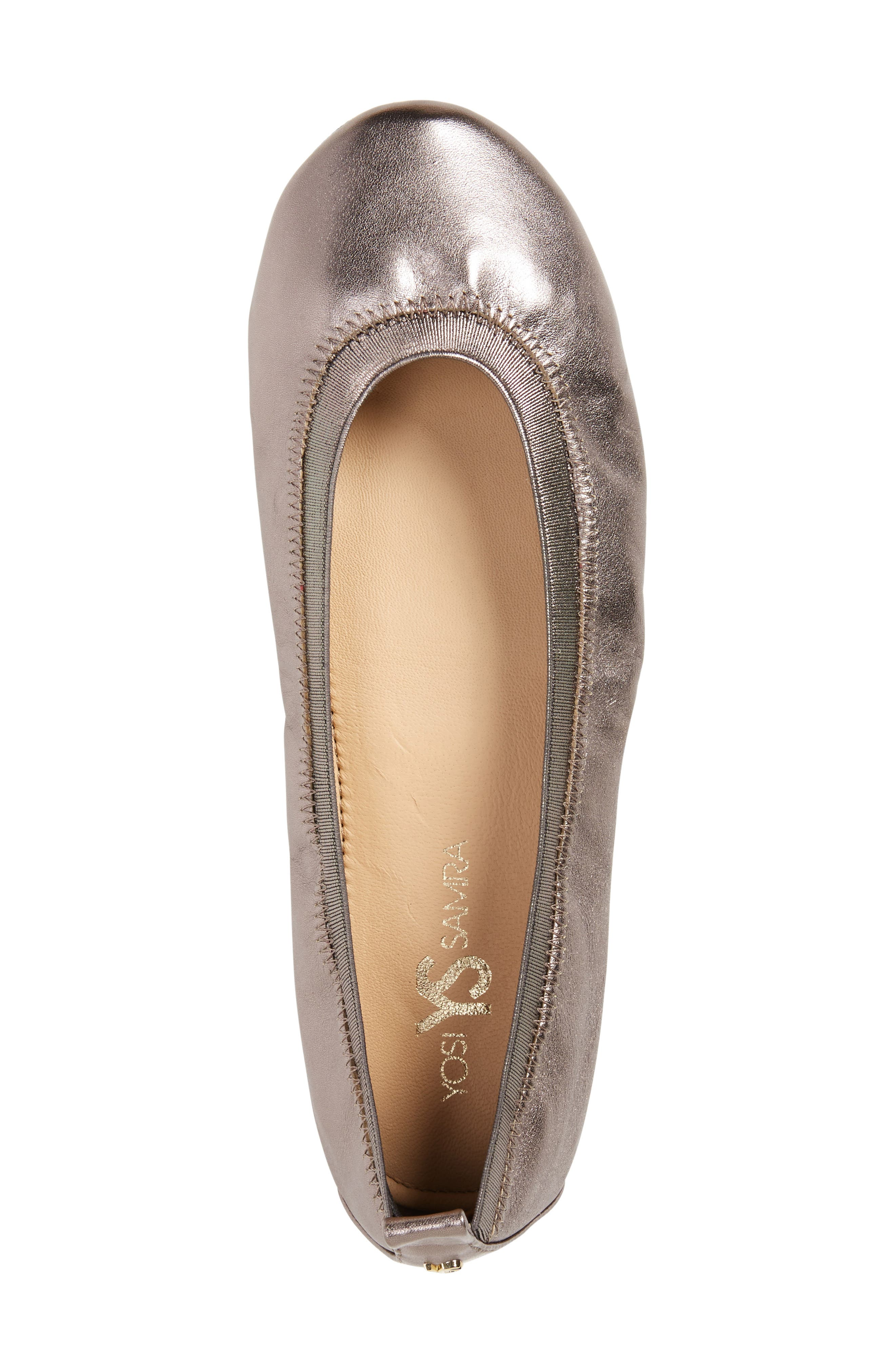 Samara 2.0 Foldable Ballet Flat,                             Alternate thumbnail 3, color,                             PEWTER LEATHER