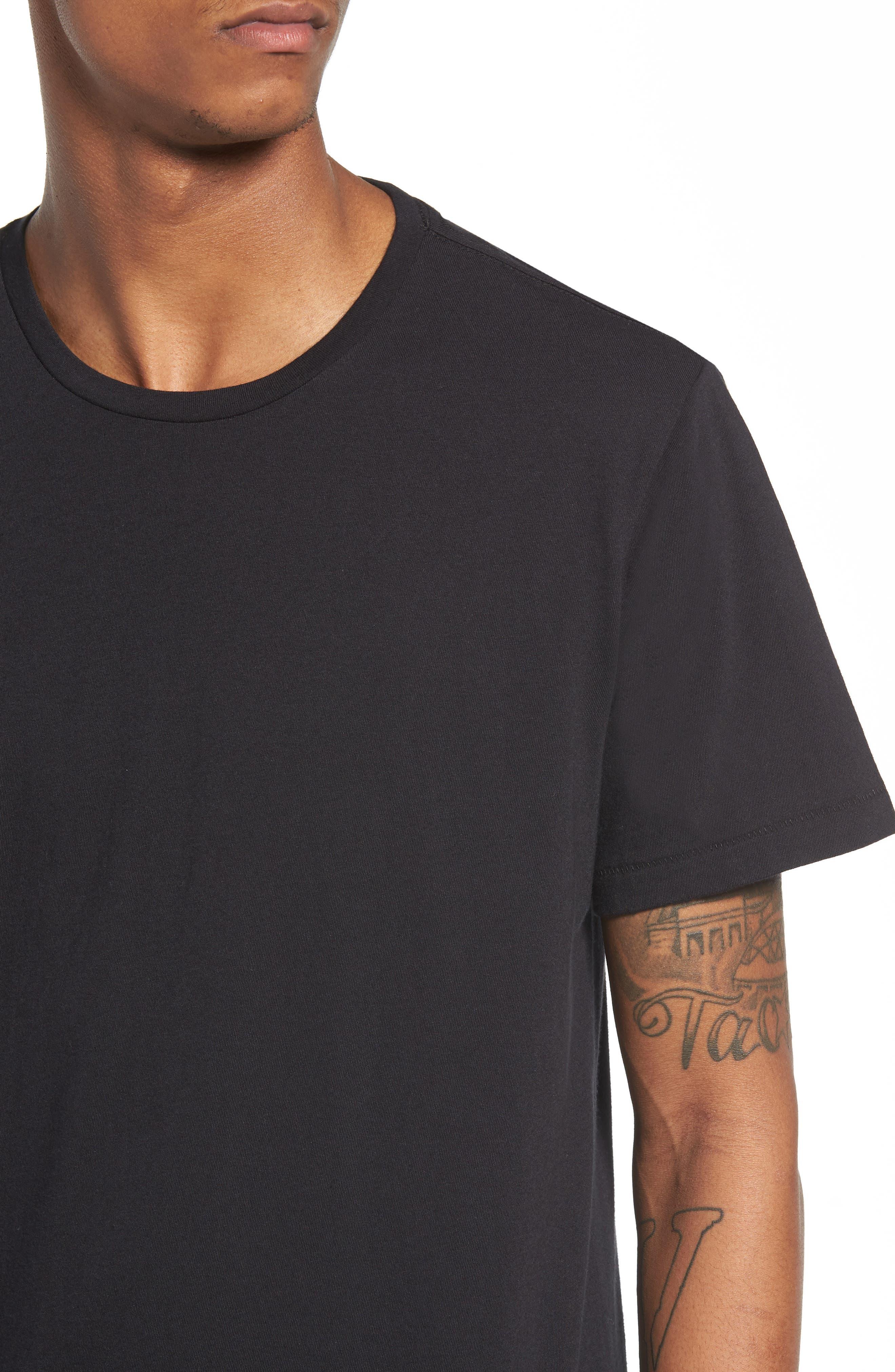 Longline T-Shirt,                             Alternate thumbnail 4, color,                             001