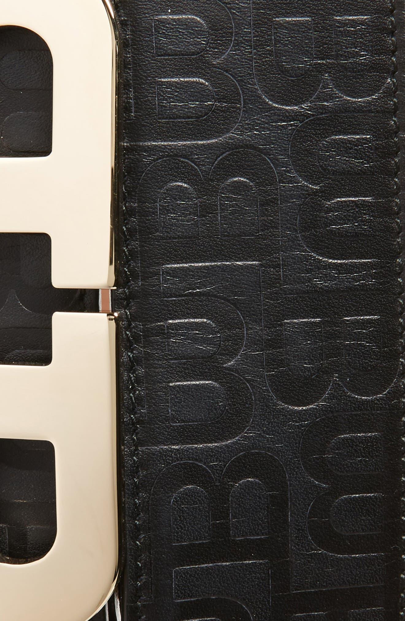 Stamped Logo Leather Belt,                             Alternate thumbnail 2, color,                             BLACK