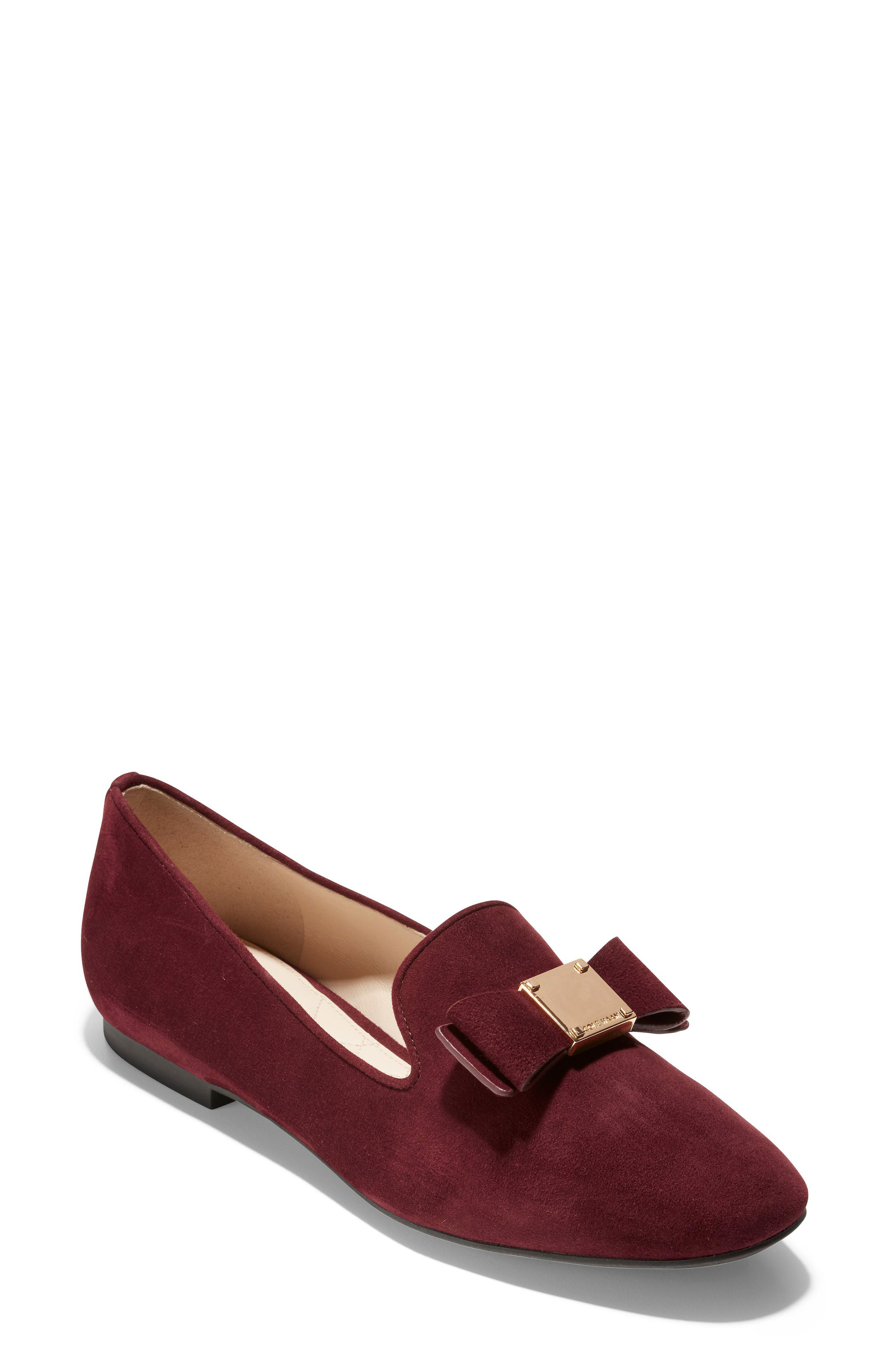 COLE HAAN Tali Grand Suede Bow Loafers in Cordovan Suede
