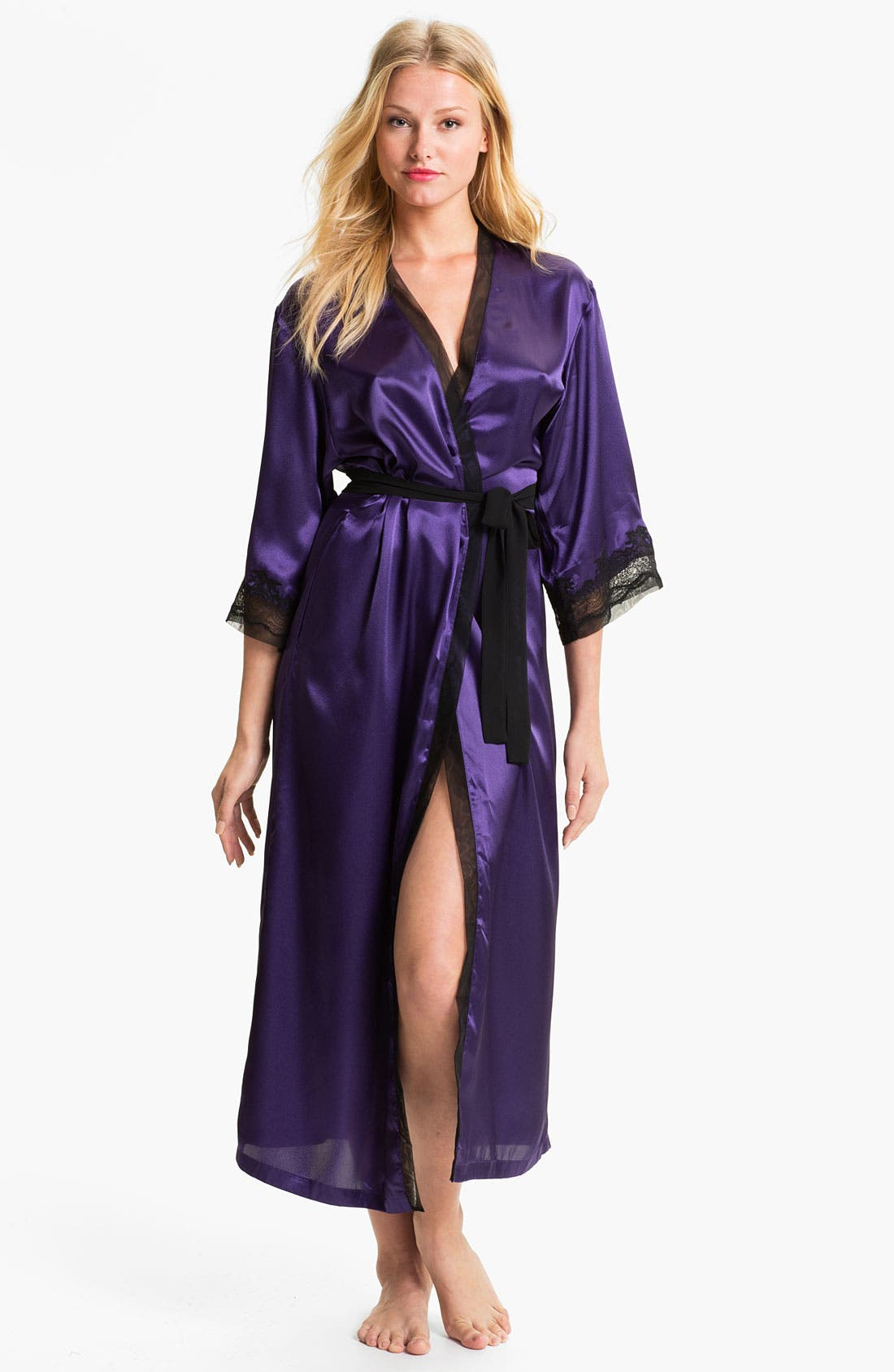 Sleepwear Lace Trim Charmeuse Robe,                             Main thumbnail 2, color,