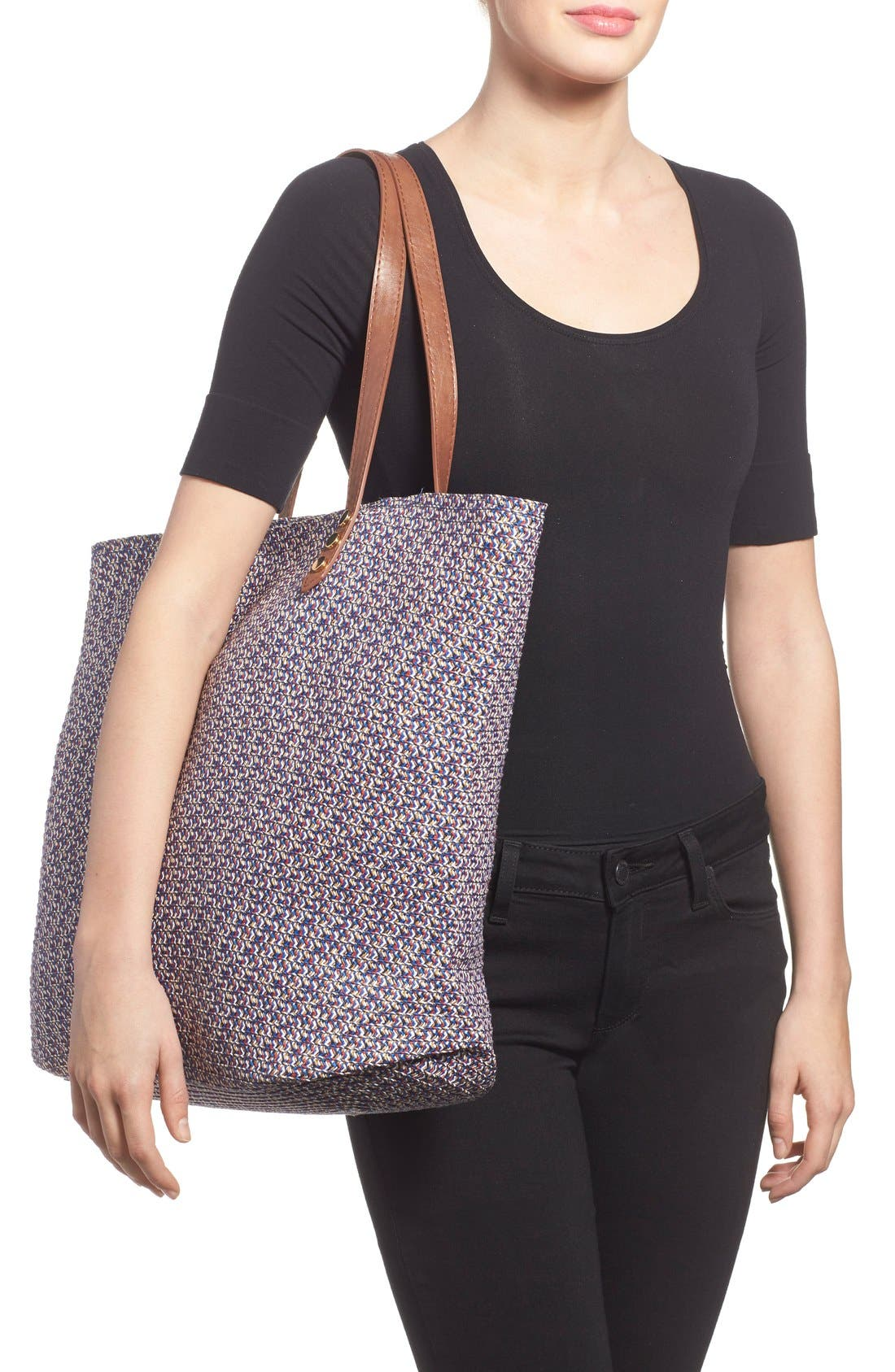 Woven Straw Tote,                             Alternate thumbnail 3, color,                             440