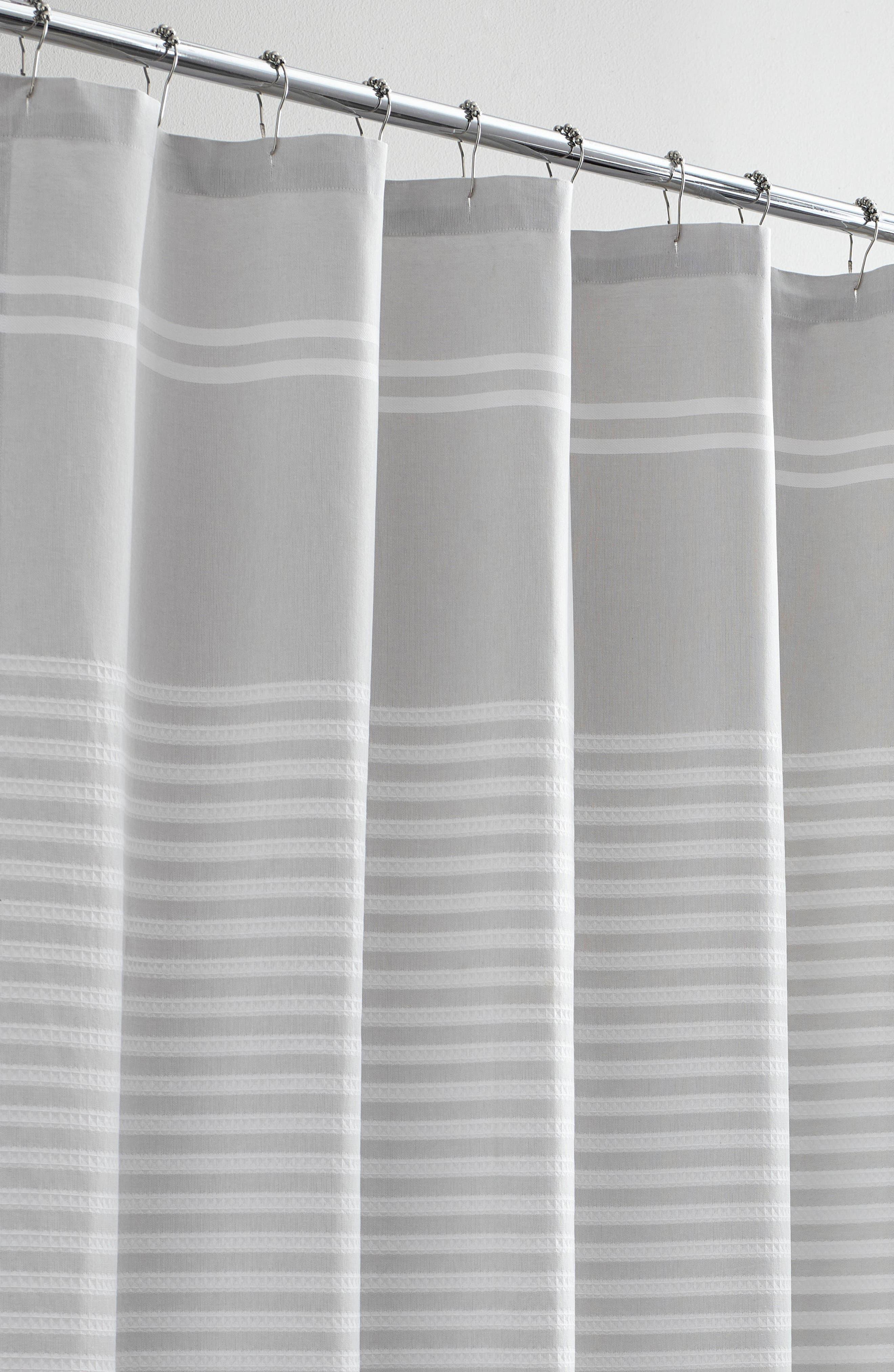 VERA WANG,                             Seersucker Stripe Shower Curtain,                             Alternate thumbnail 2, color,                             AQUARMARINE/ WHITE