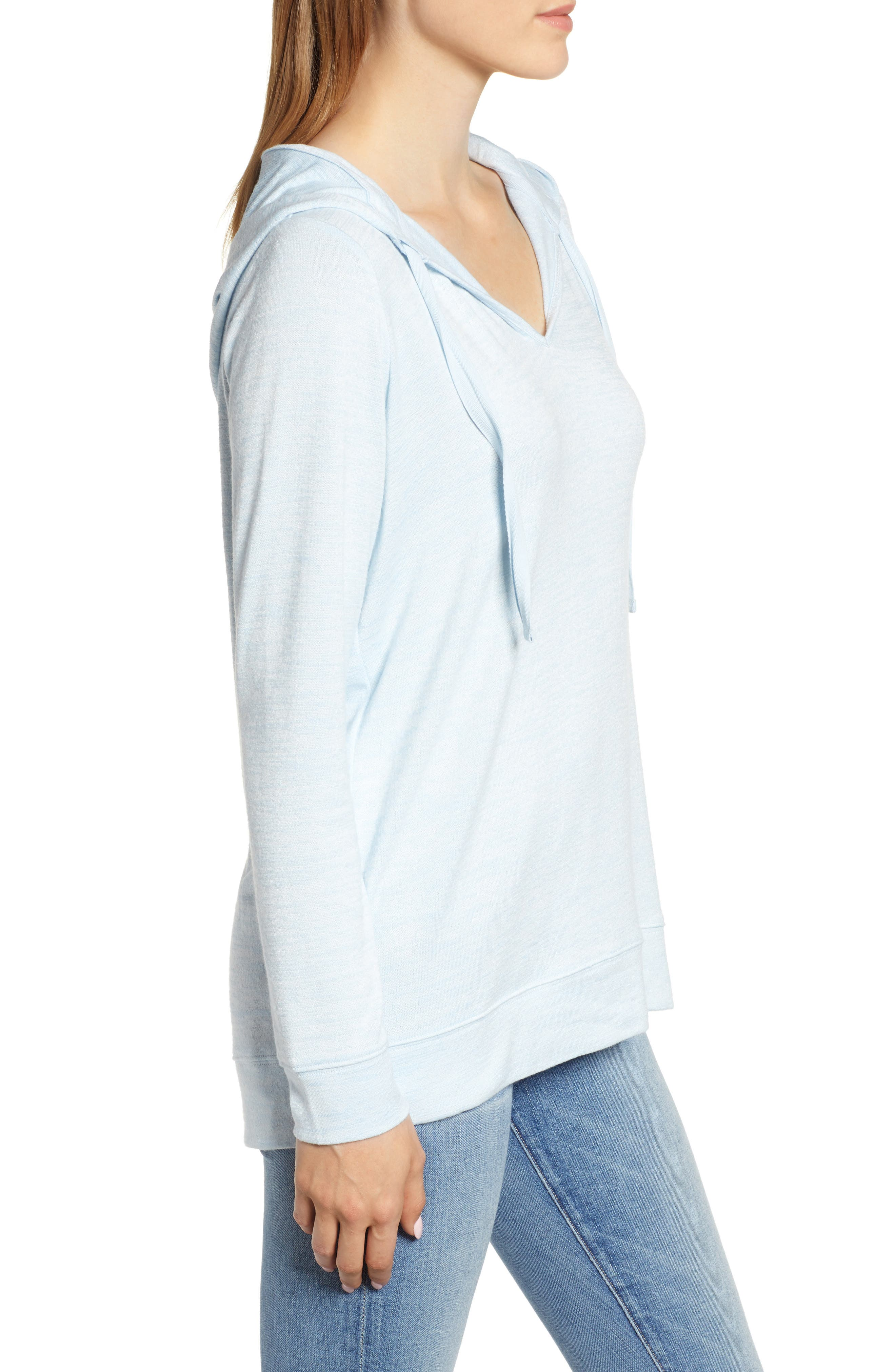 Soft Jersey Hoodie Top,                             Alternate thumbnail 3, color,                             BLUE