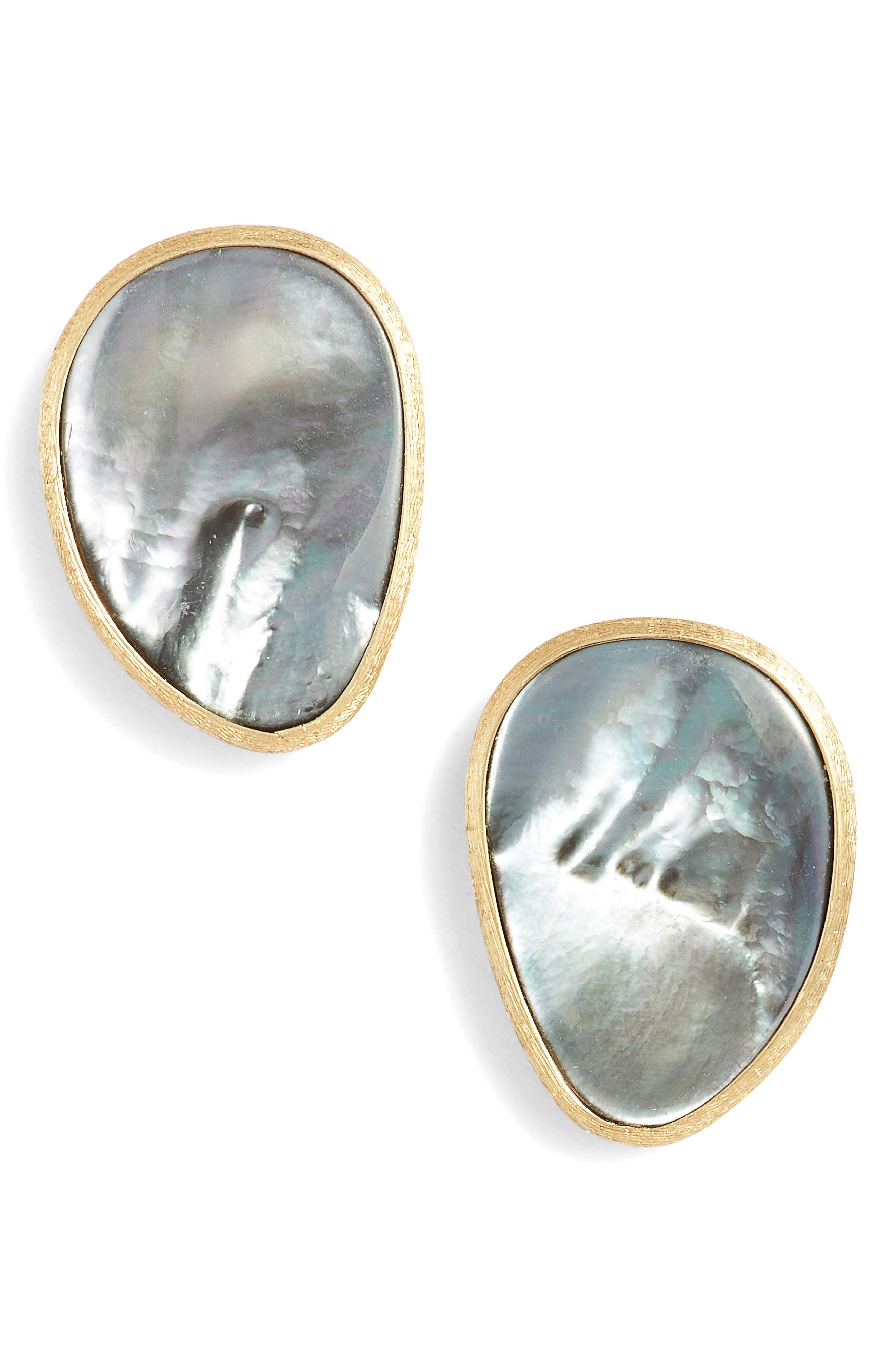 Lunaria Pearl Stud Earrings,                             Main thumbnail 1, color,                             GREY MOTHER OF PEARL