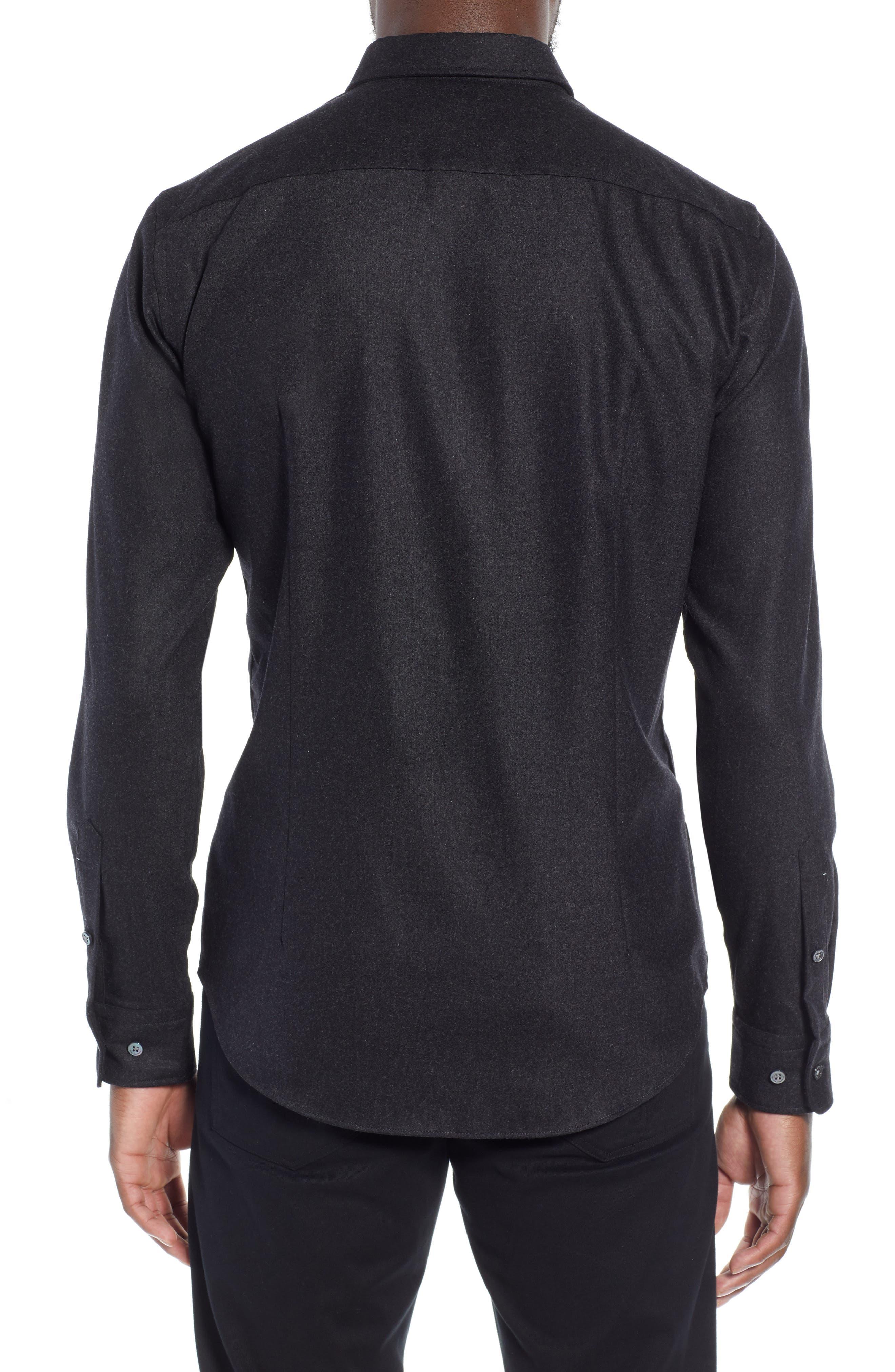 T-Rafael Long Sleeve Slim Fit Flannel Sport Shirt,                             Alternate thumbnail 3, color,                             GREY