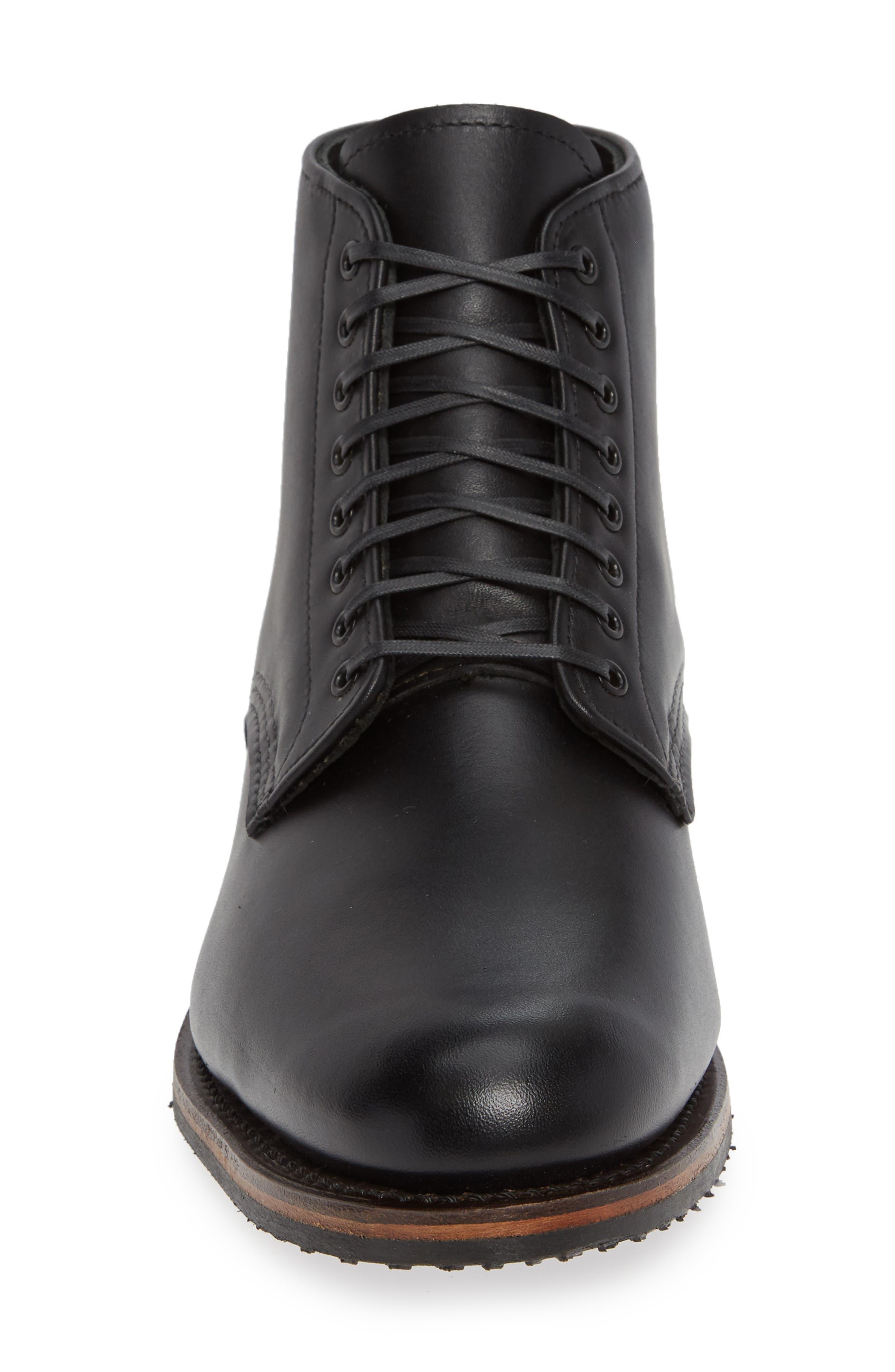 RED WING,                             Williston Plain Toe Boot,                             Alternate thumbnail 4, color,                             BLACK LEATHER