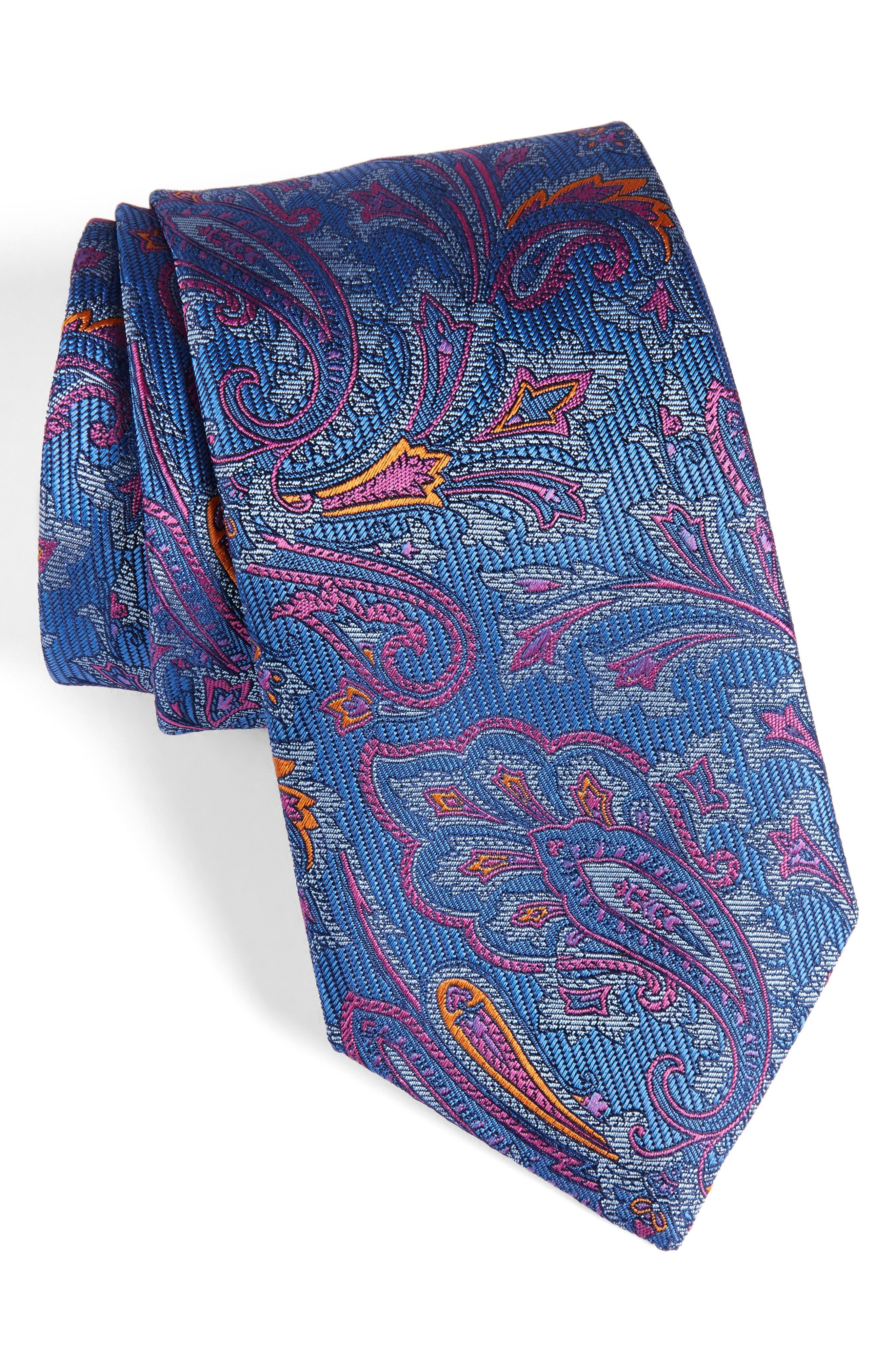 Paisley Silk Tie,                             Main thumbnail 1, color,                             430