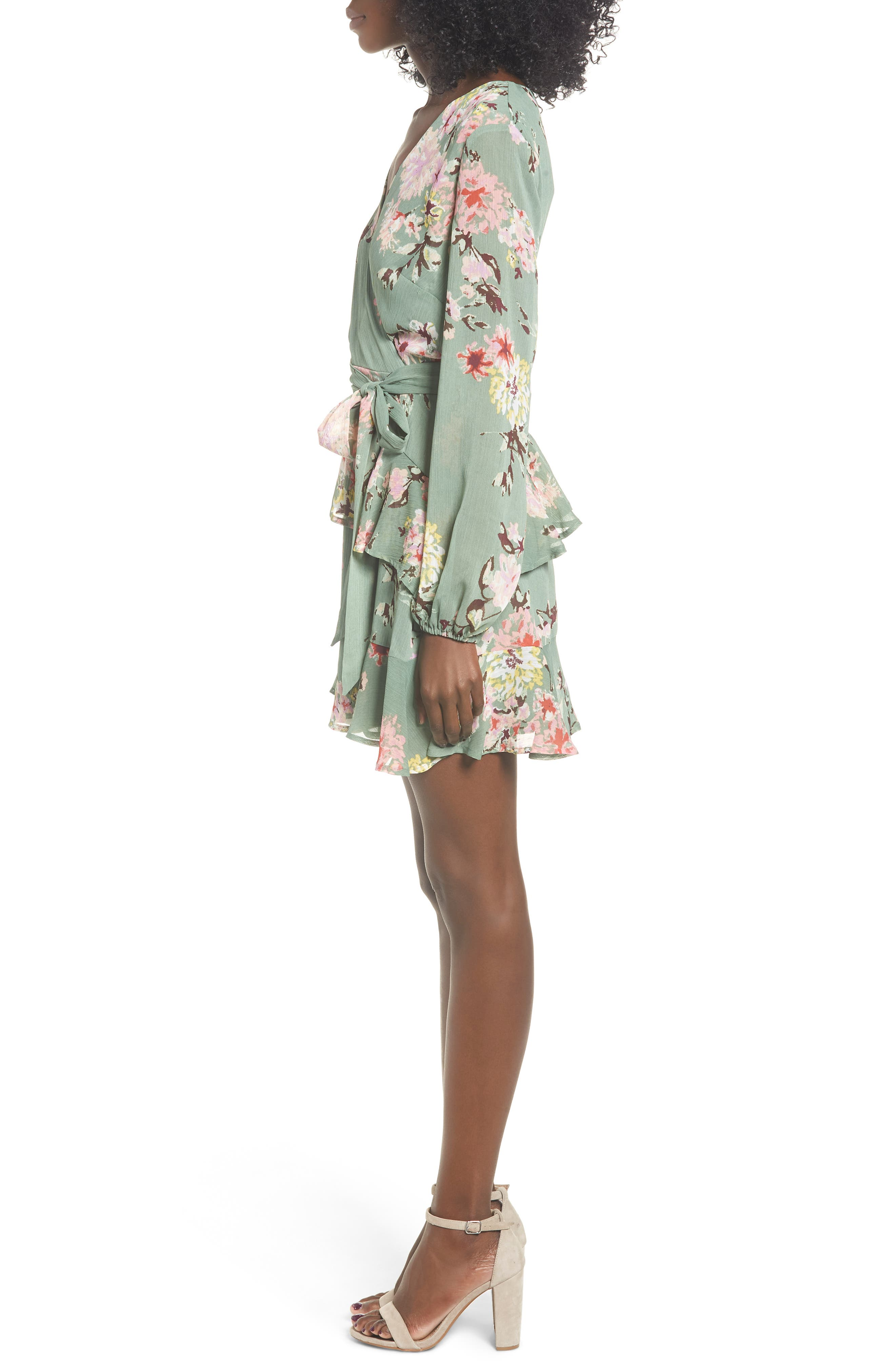Tiered Wrap Dress,                             Alternate thumbnail 3, color,                             364