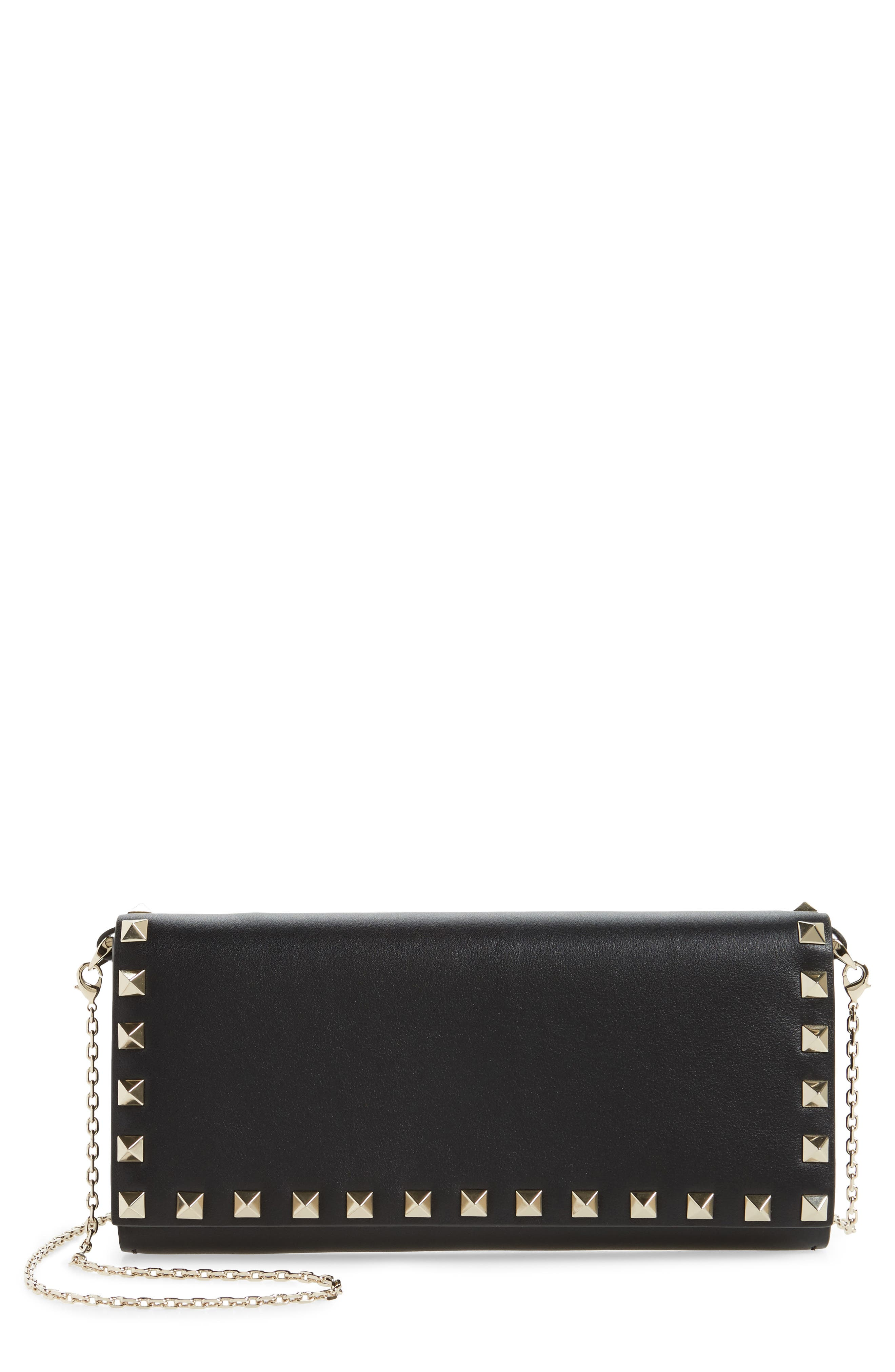 Rockstud Leather Wallet on a Chain,                         Main,                         color, 001