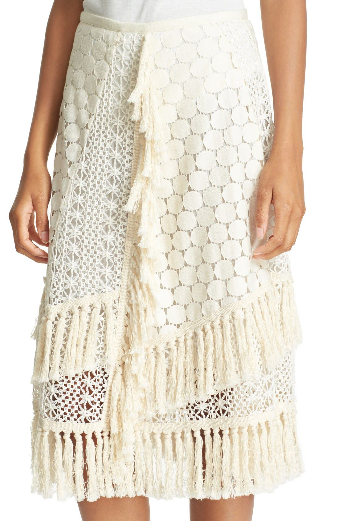 SEE BY CHLOÉ,                             Lace & Fringe Skirt,                             Alternate thumbnail 5, color,                             900