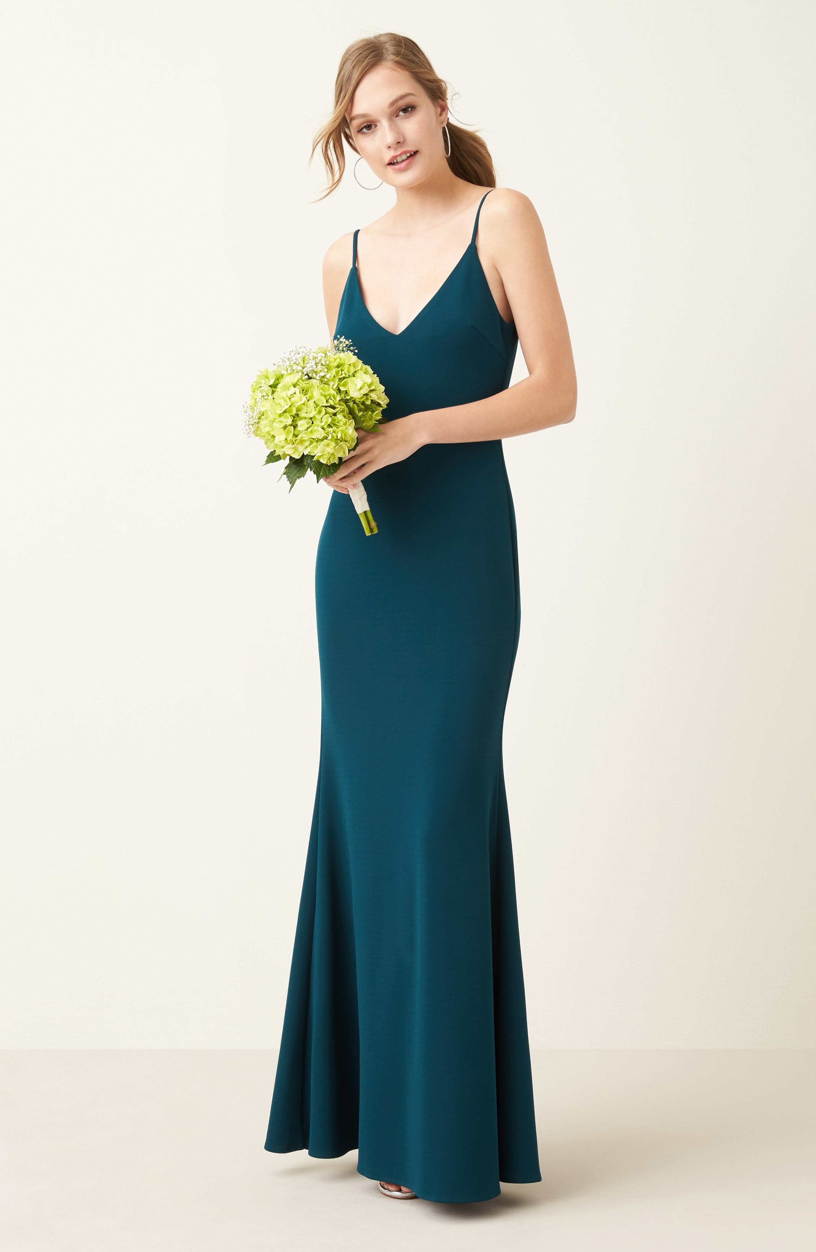 V-Neck Trumpet Gown,                             Alternate thumbnail 8, color,                             EMERALD