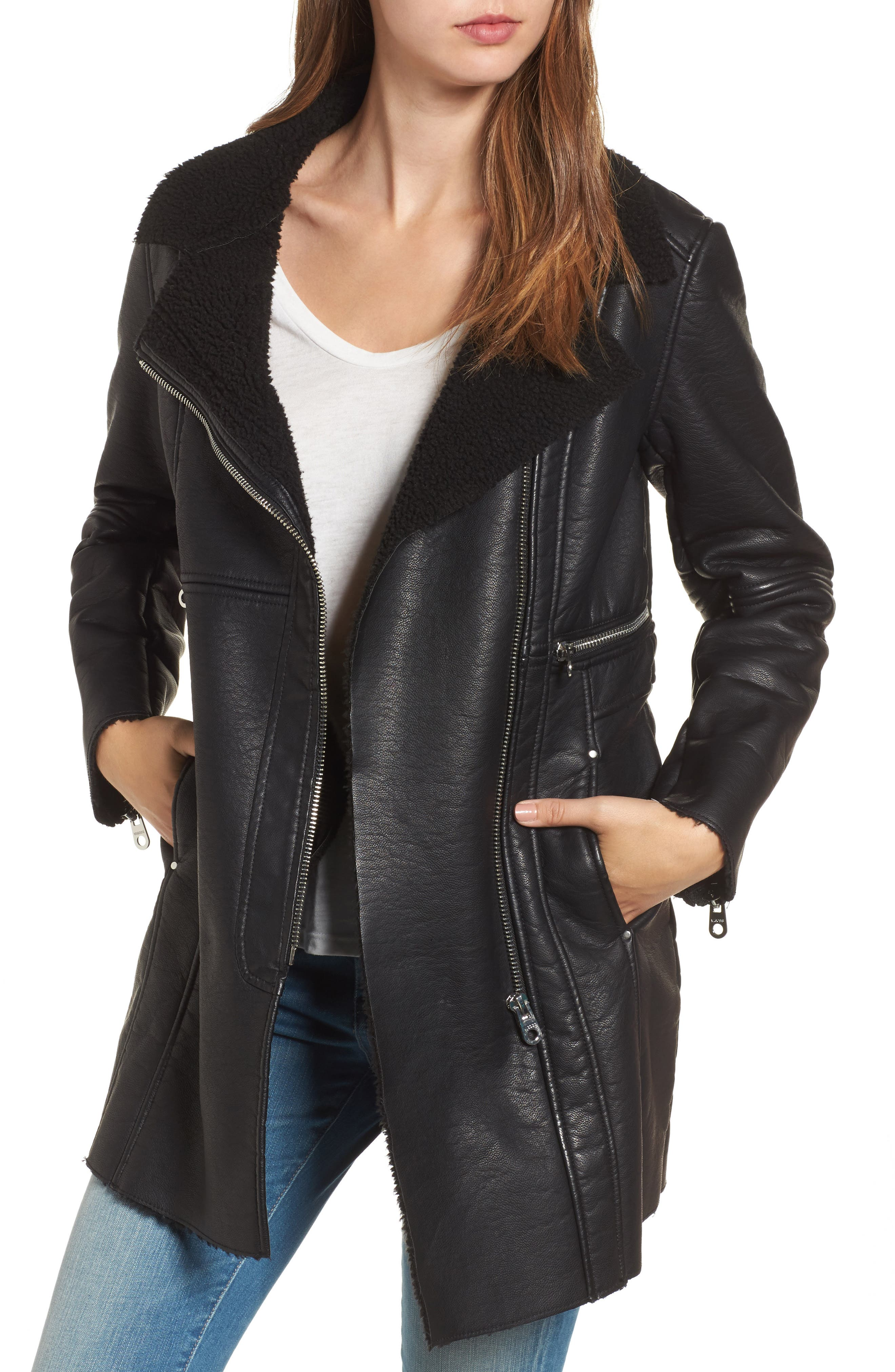 Longline Moto Jacket,                         Main,                         color, 001