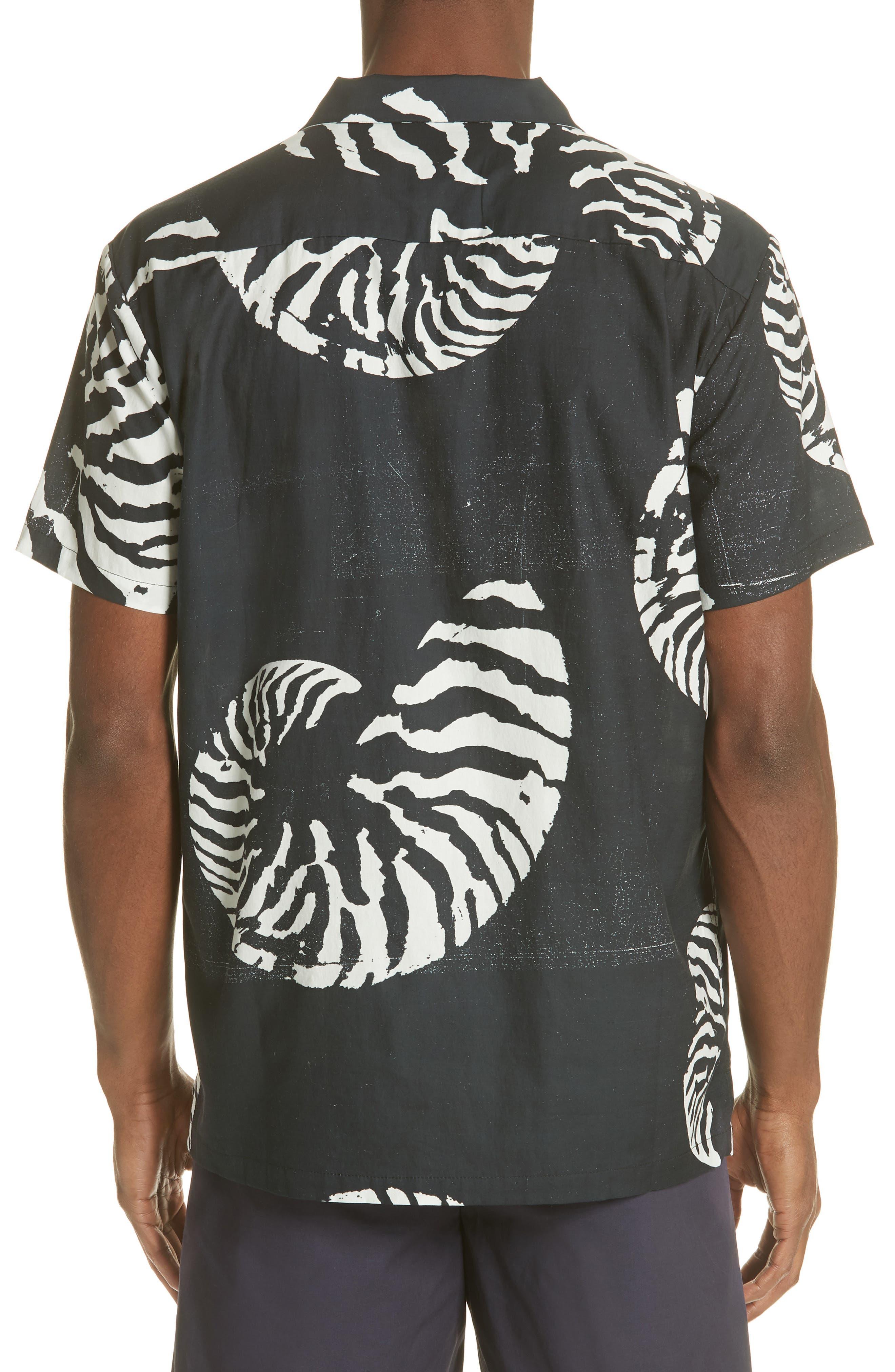 Beach House Print Camp Shirt,                             Alternate thumbnail 3, color,                             WHITE