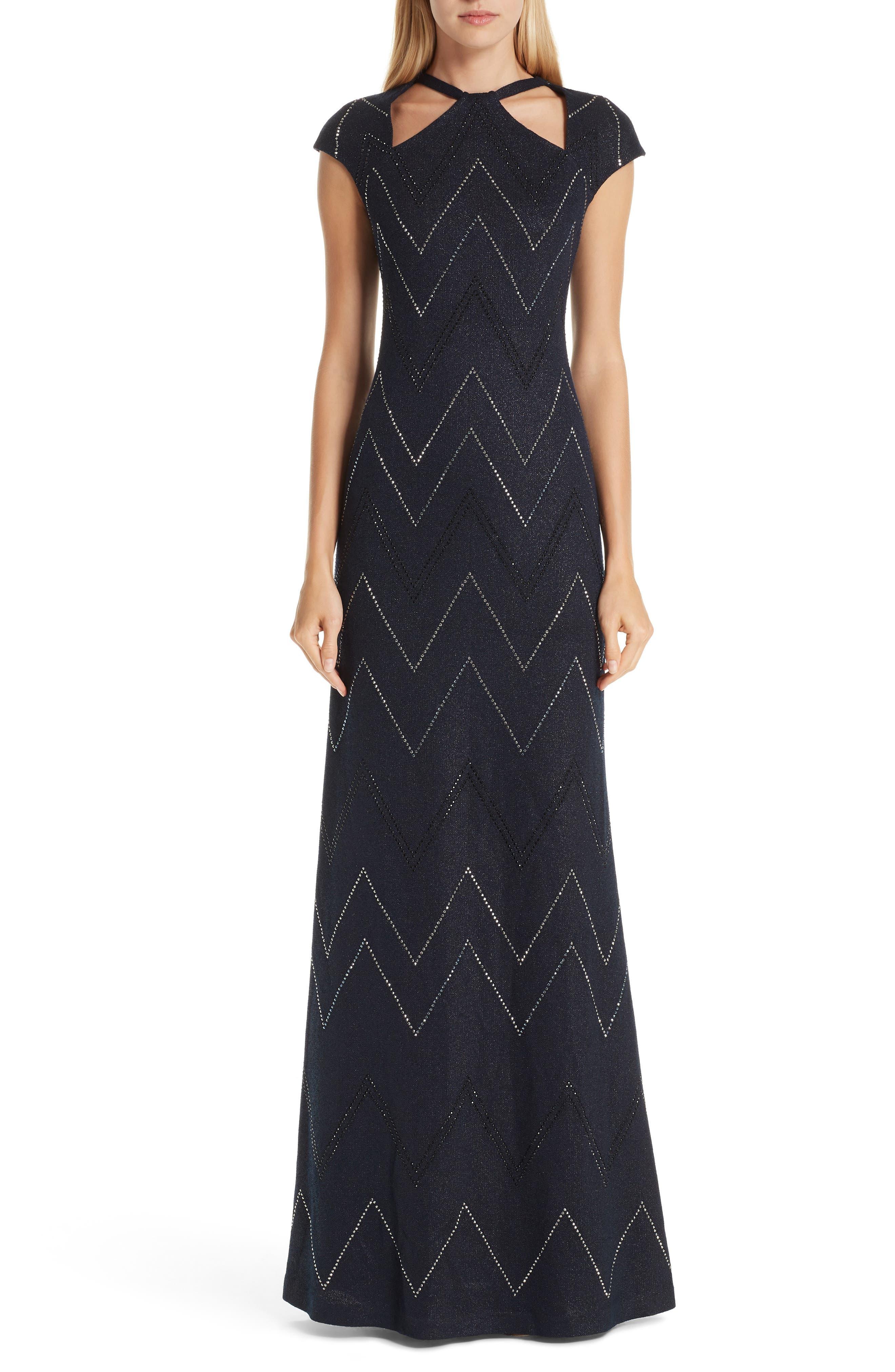 St. John Collection Mod Metallic Knit Gown