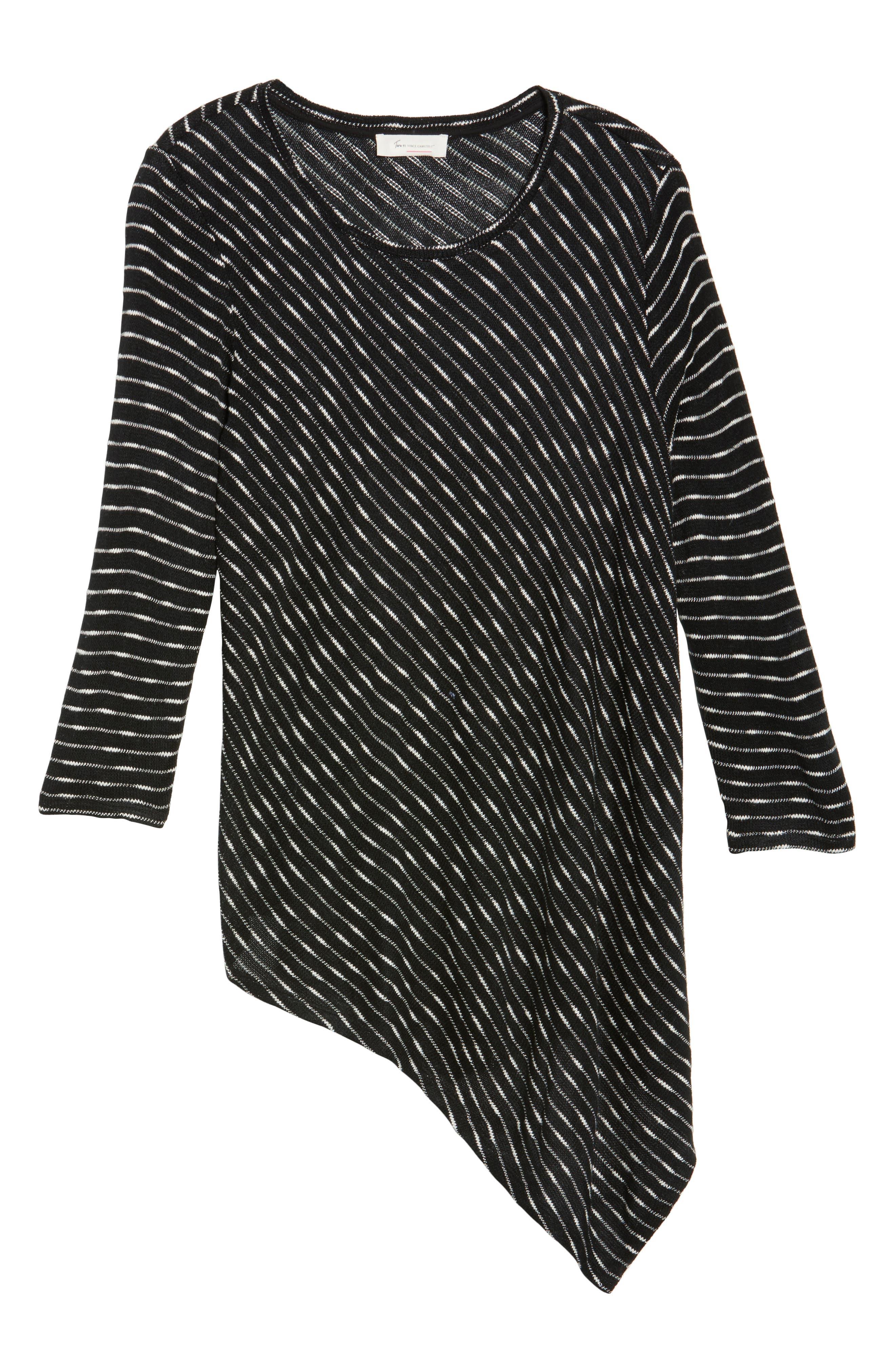 Asymmetrical Stripe Knit Top,                             Alternate thumbnail 6, color,                             010