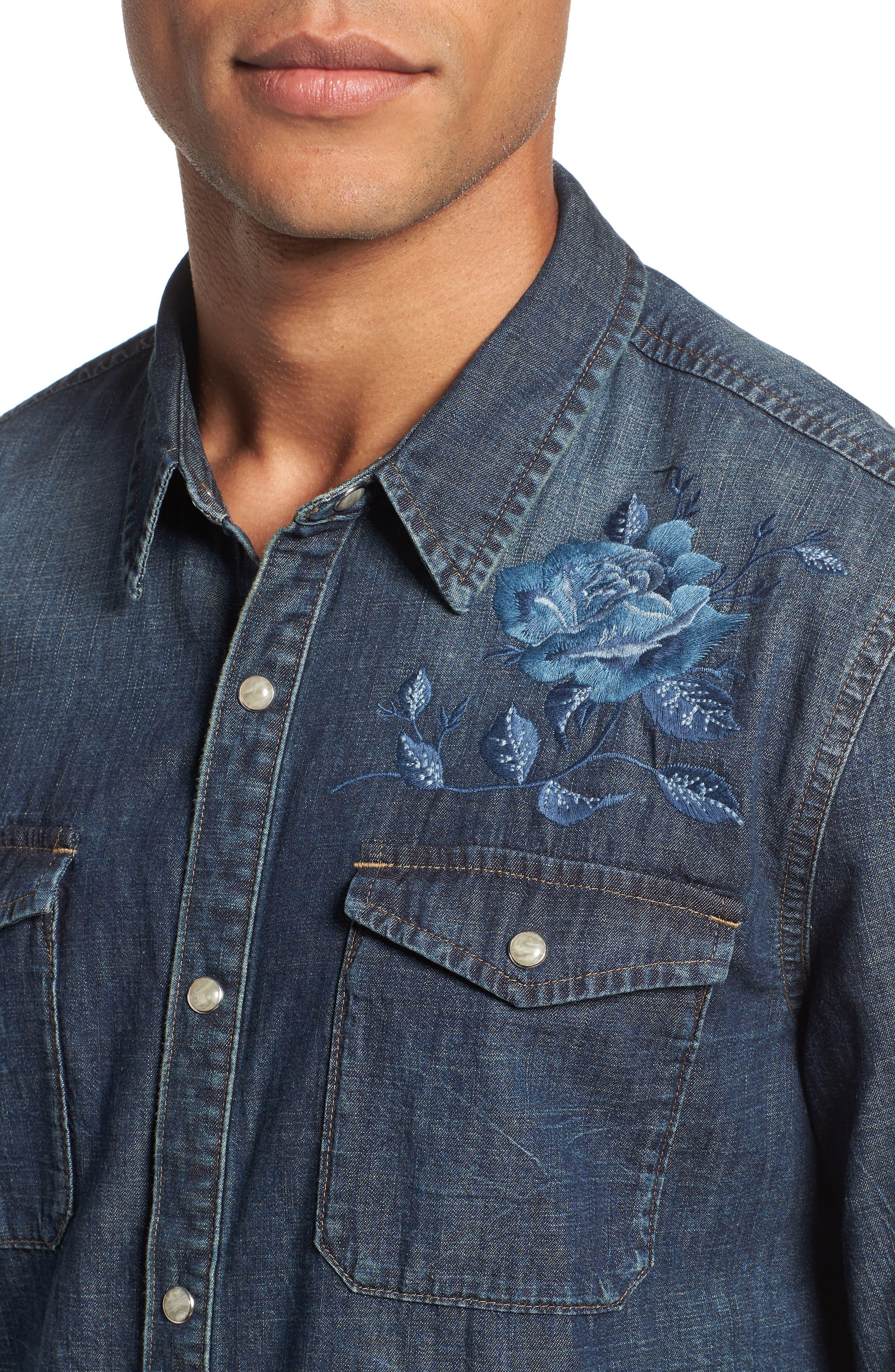 Desert Rose Denim Shirt,                             Alternate thumbnail 4, color,                             INDIGO