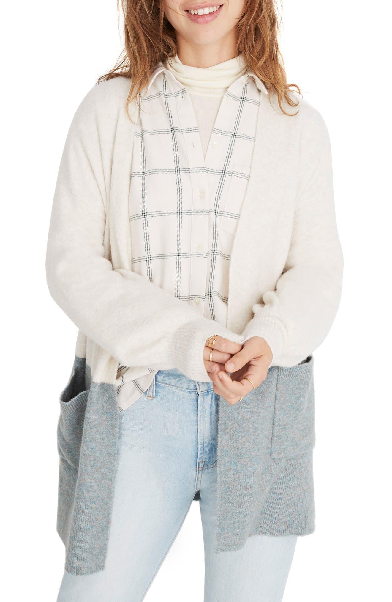 Kent Colorblock Cardigan Sweater,                         Main,                         color, HEATHER RIVER