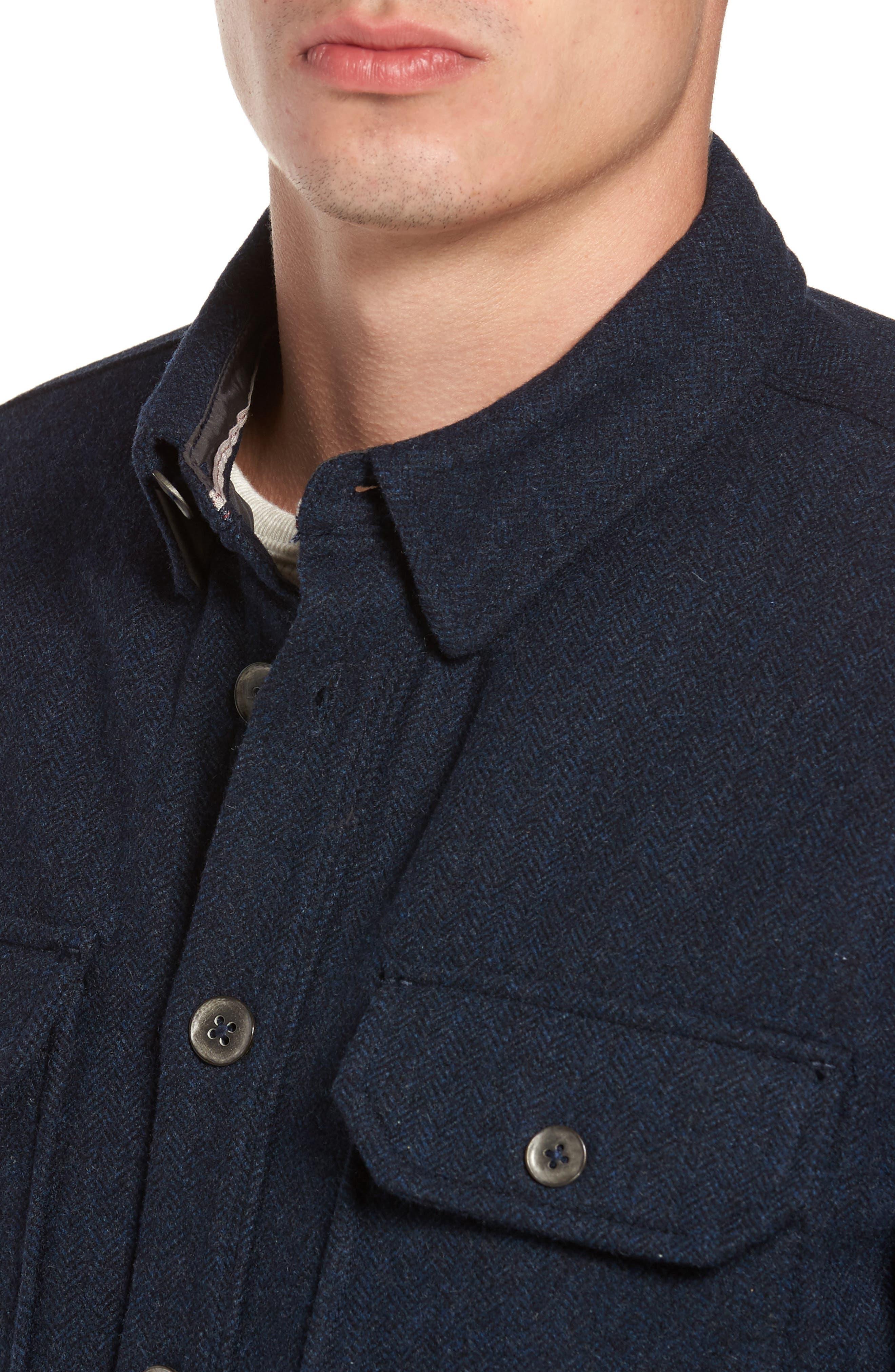 Creek Herringbone Wool Shirt Jacket,                             Alternate thumbnail 4, color,
