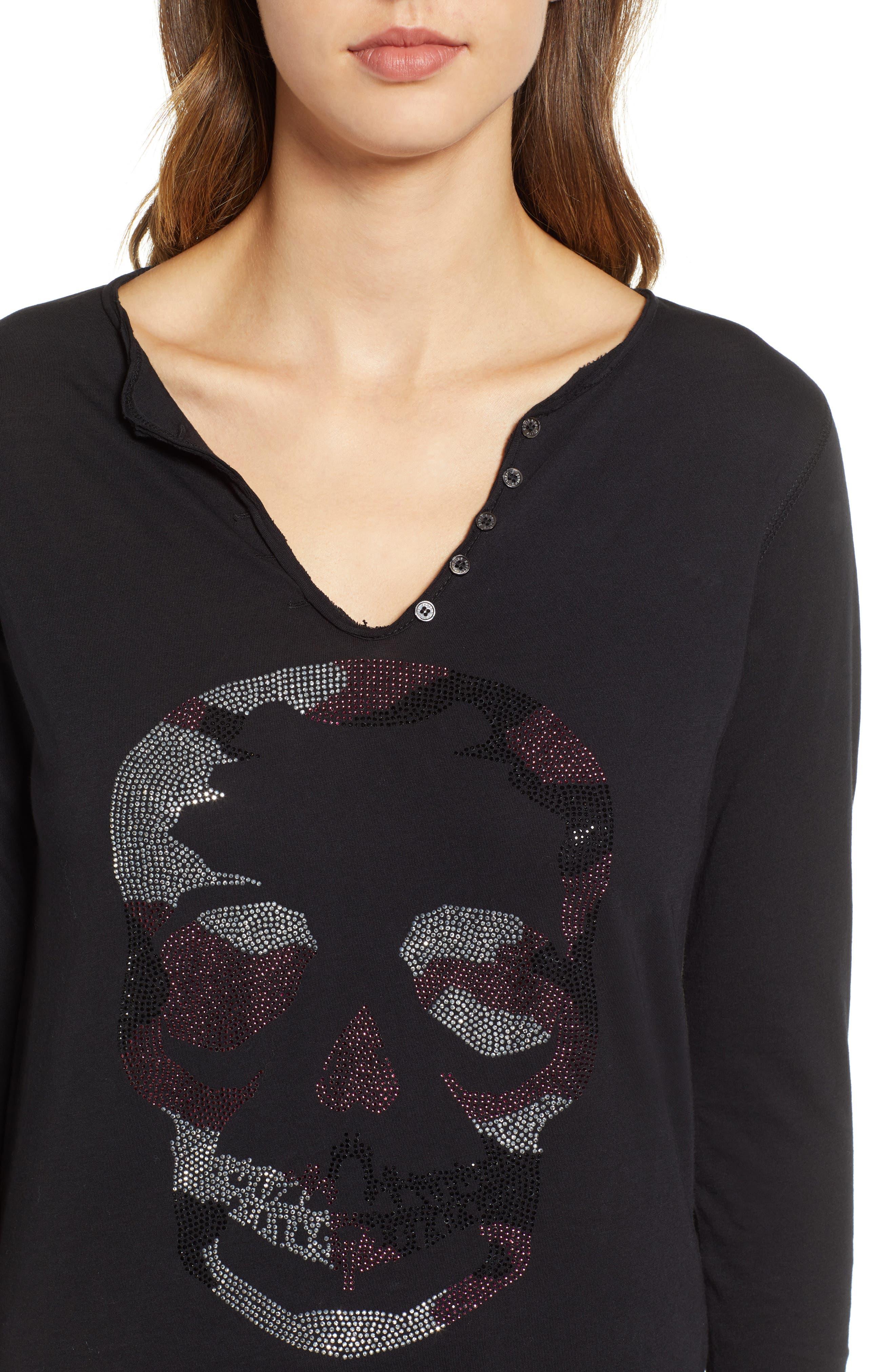 Tunisien Skull Shirt,                             Alternate thumbnail 4, color,                             NOIR