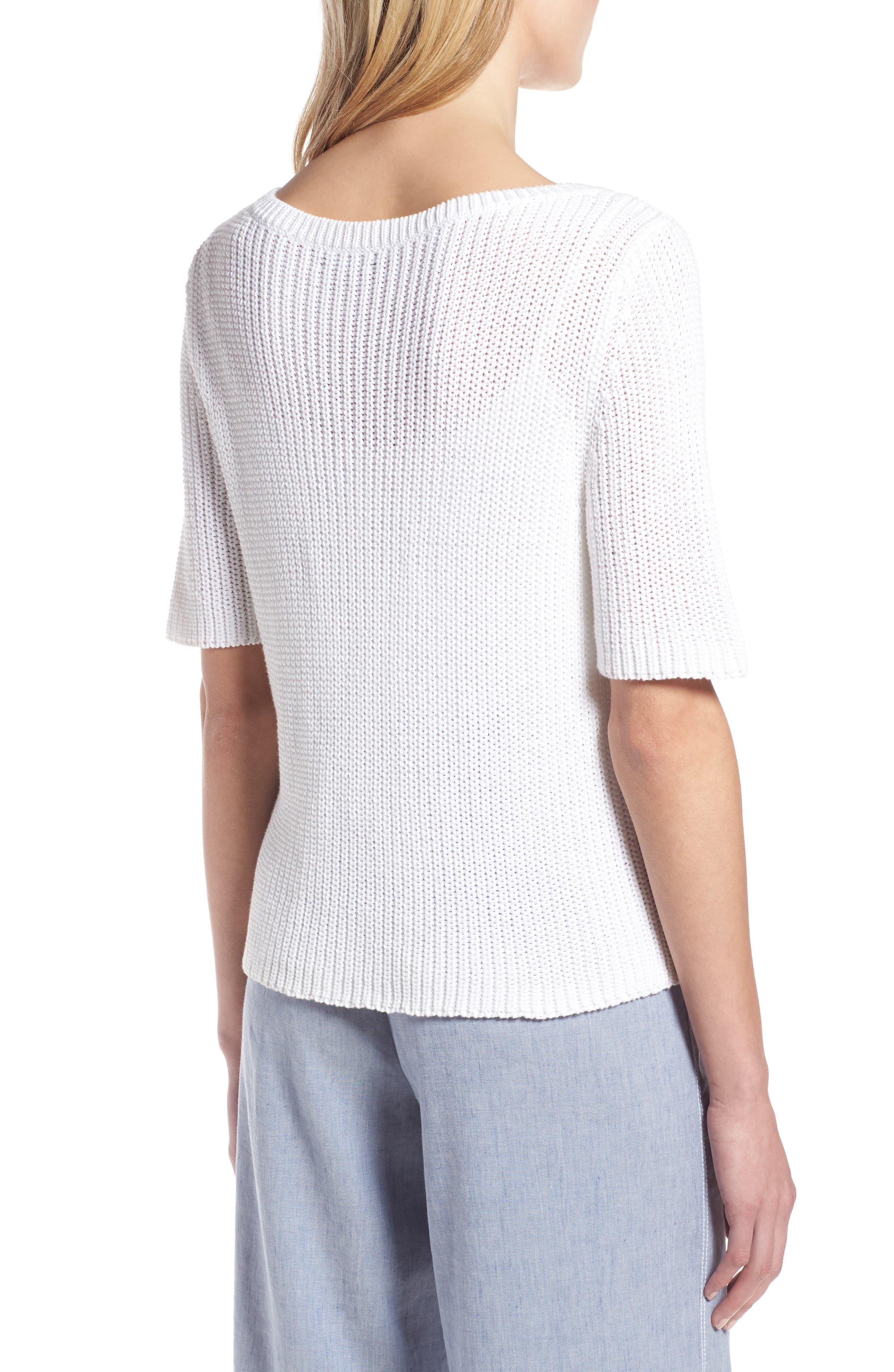 Shaker Stitch Cotton Sweater,                             Alternate thumbnail 4, color,