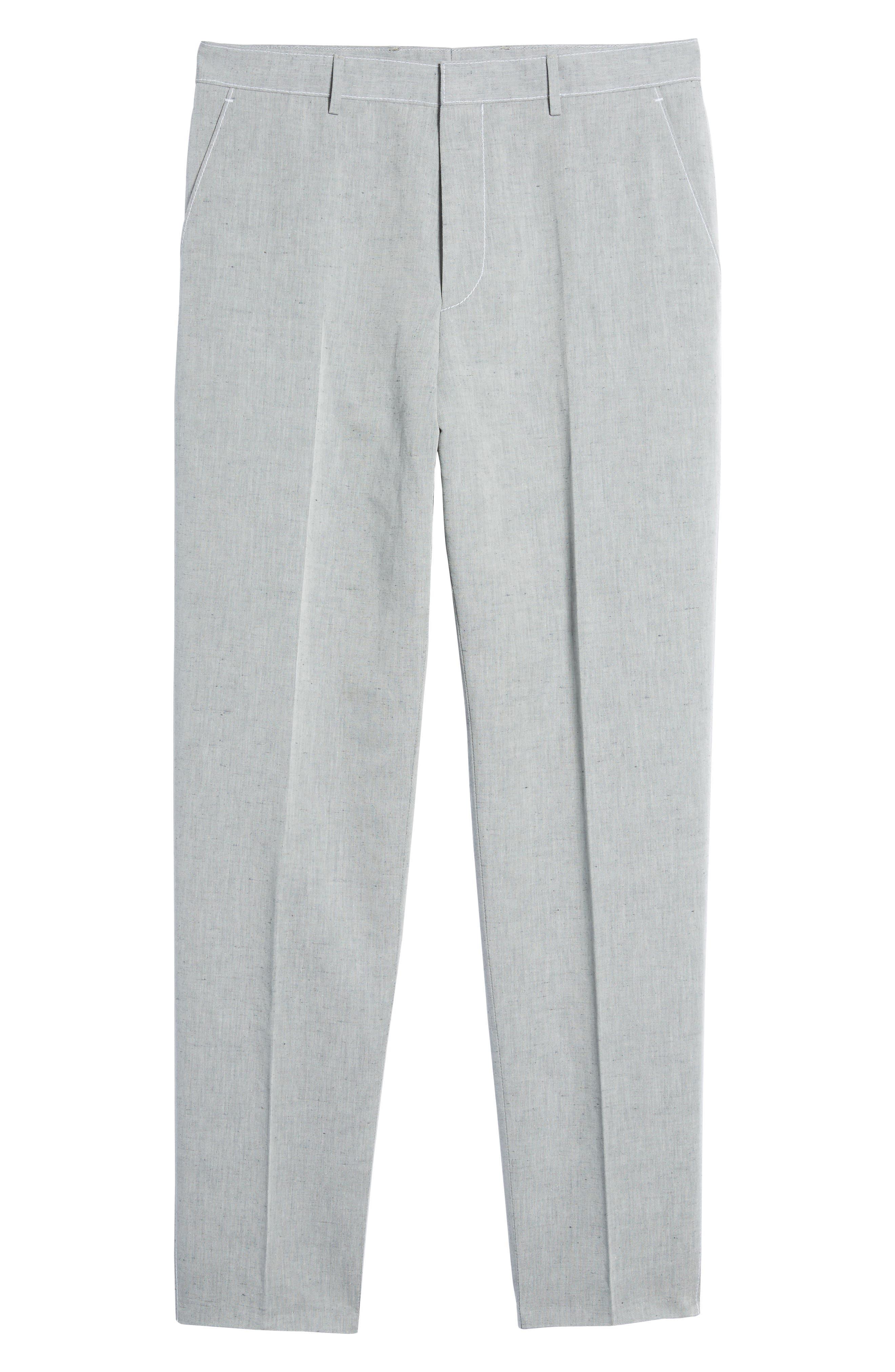 Pirko Flat Front Linen & Cotton Trousers,                             Alternate thumbnail 6, color,                             020