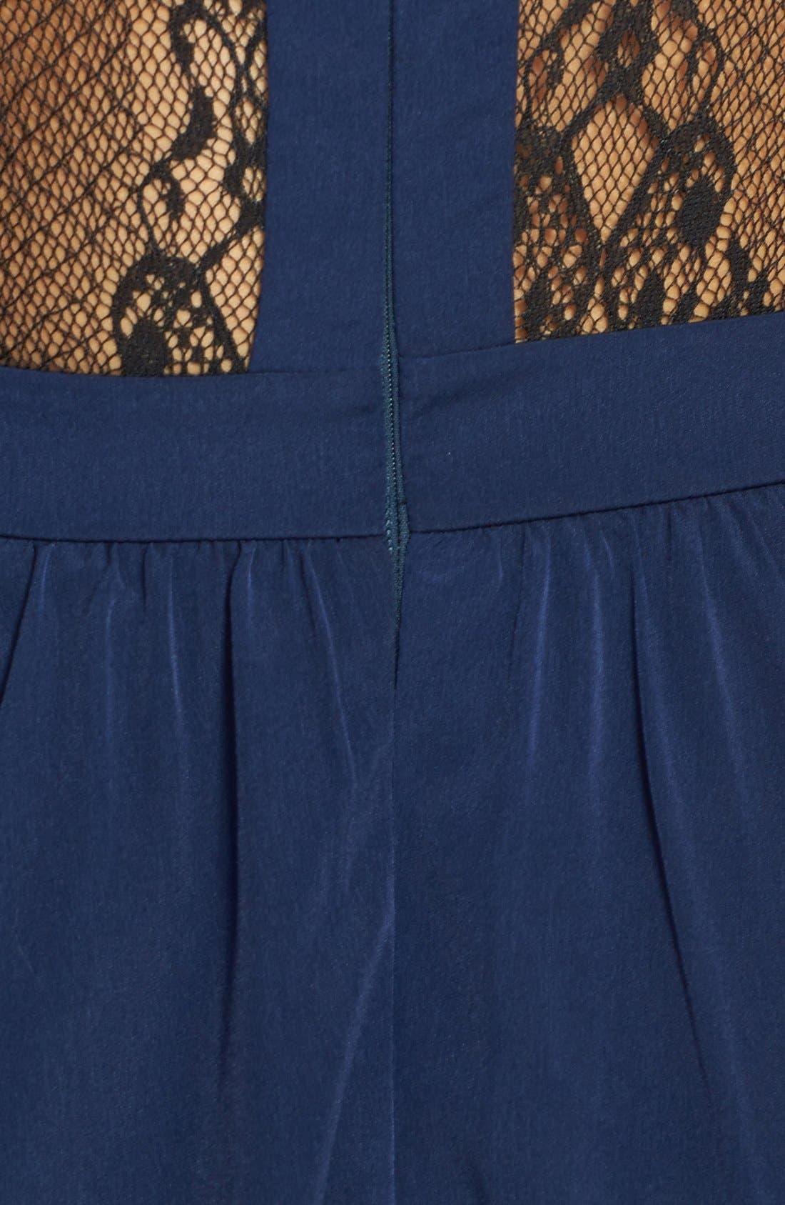 Lace Inset Skater Dress,                             Alternate thumbnail 3, color,                             400