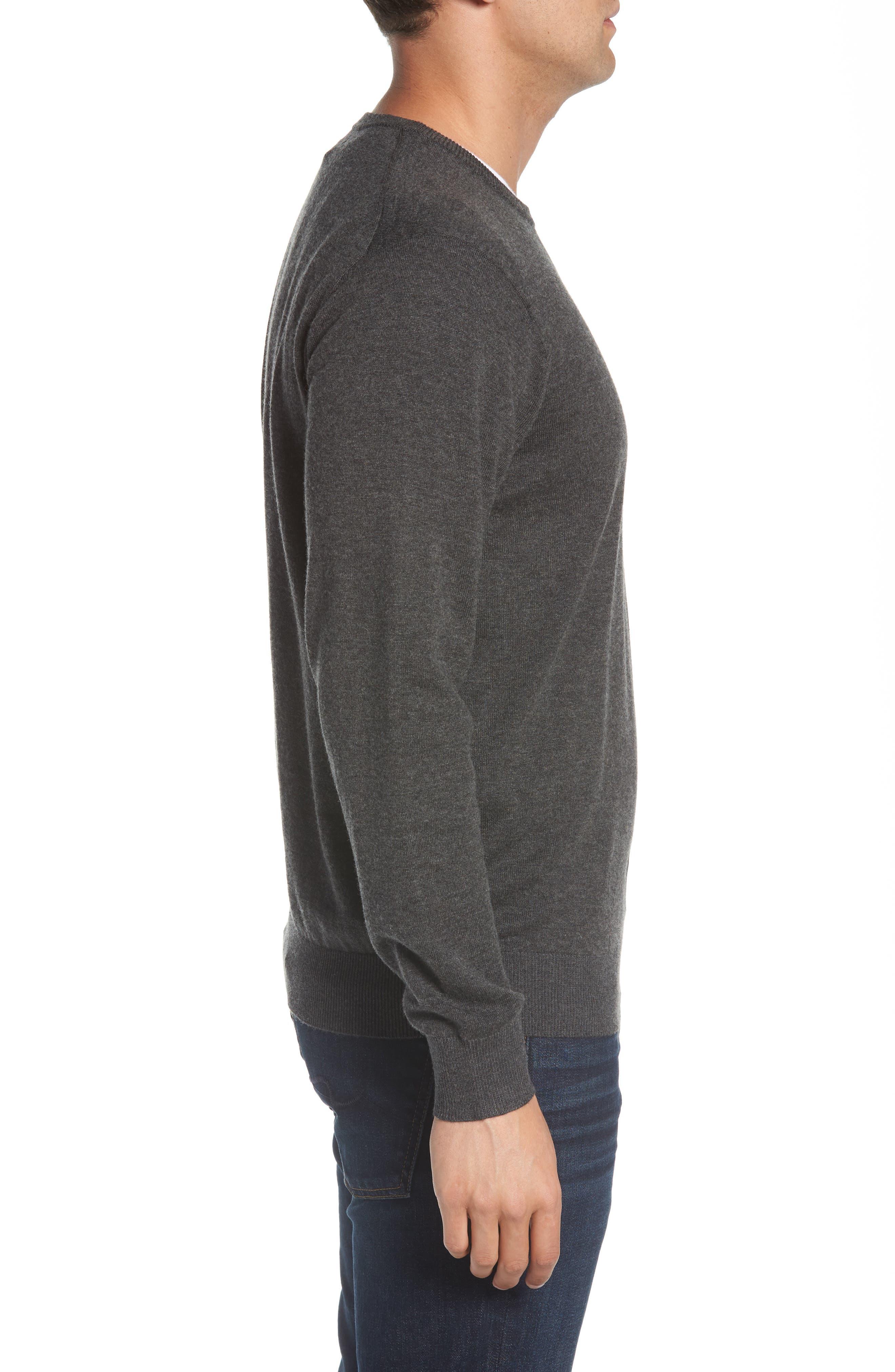 Wool & Cotton Crewneck Sweater,                             Alternate thumbnail 3, color,                             022