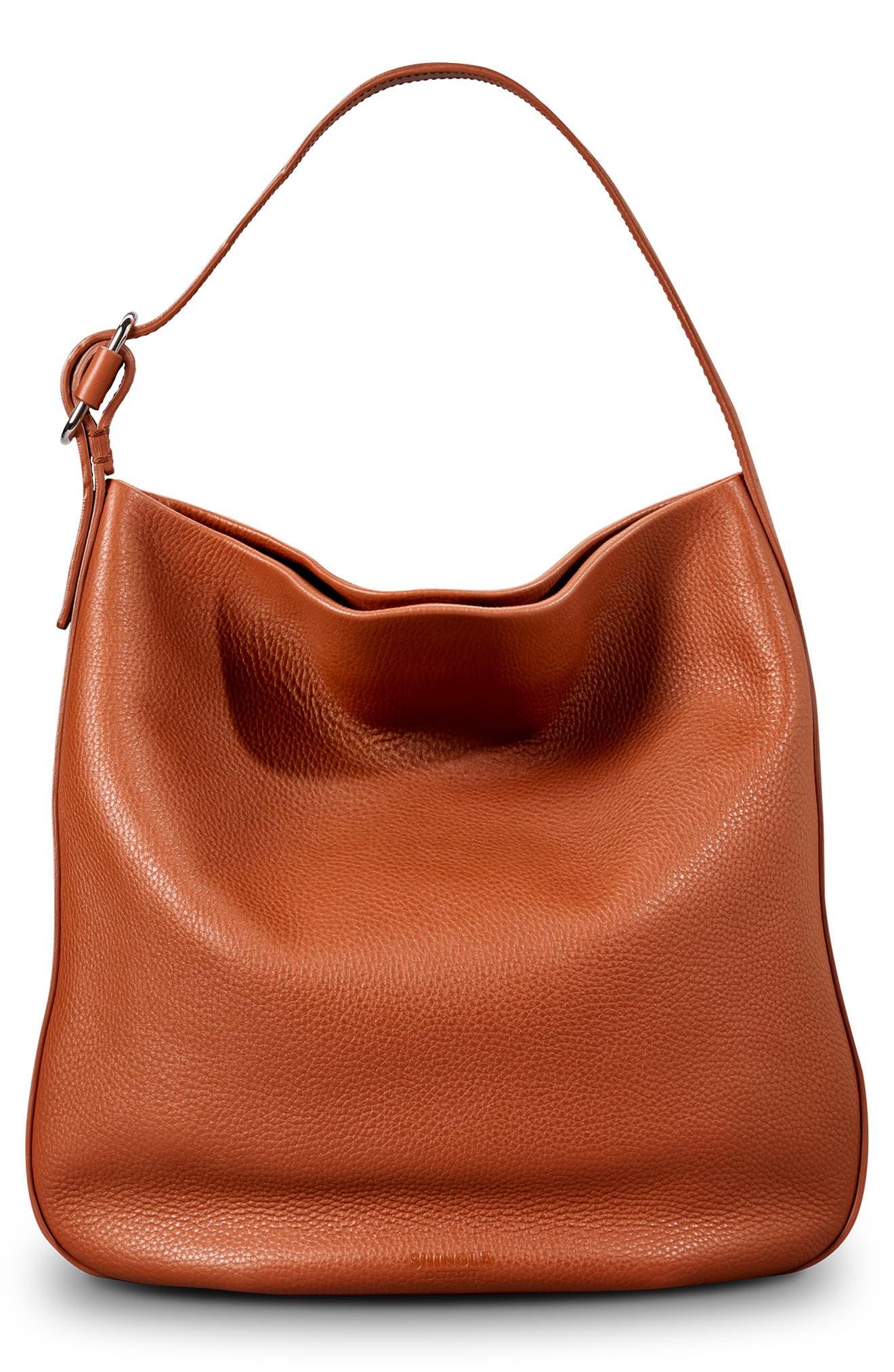 Birdy Grained Leather Hobo Bag,                             Main thumbnail 1, color,                             BOURBON