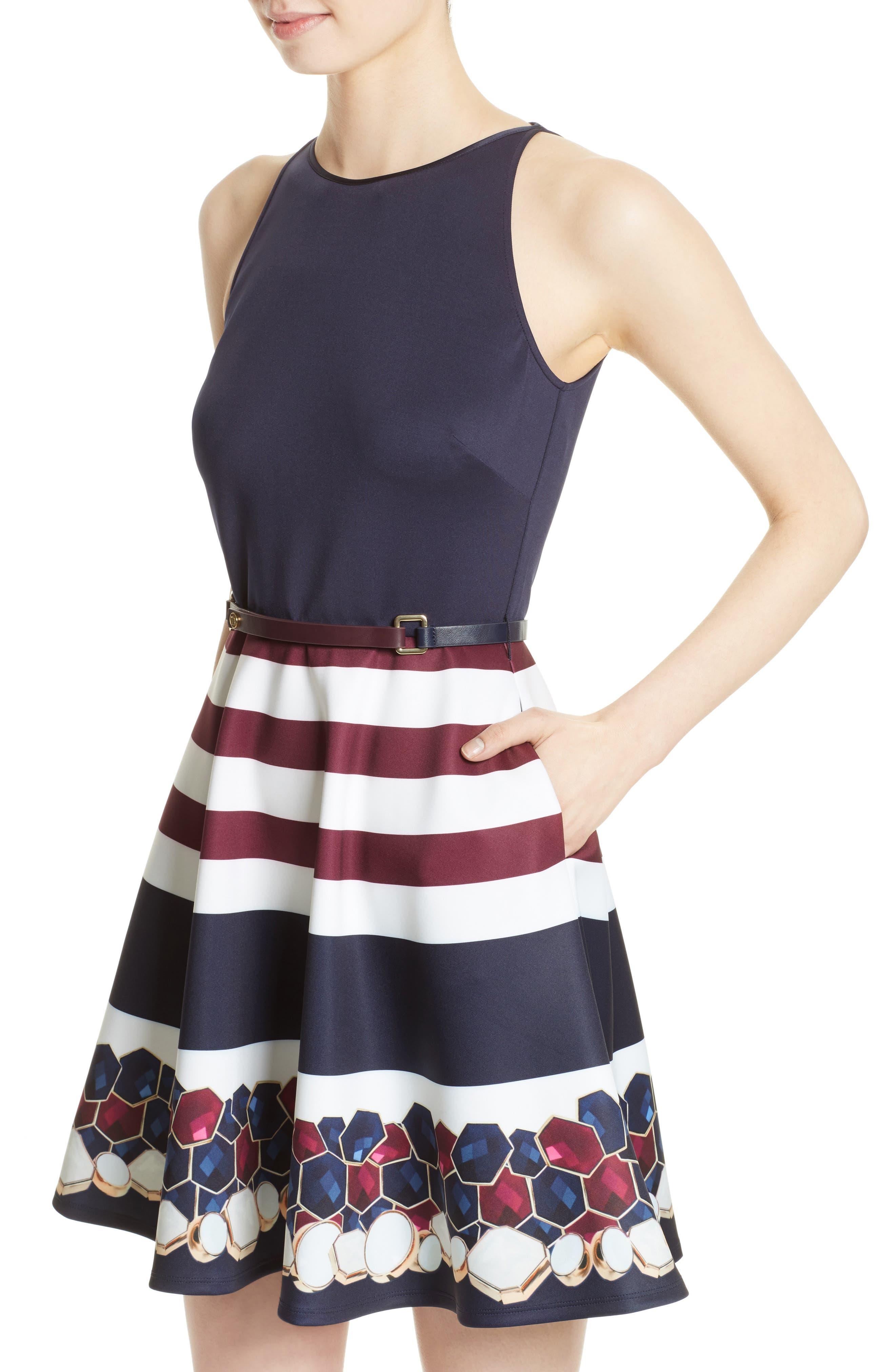 Rowing Stripe Skater Dress,                             Alternate thumbnail 4, color,                             410