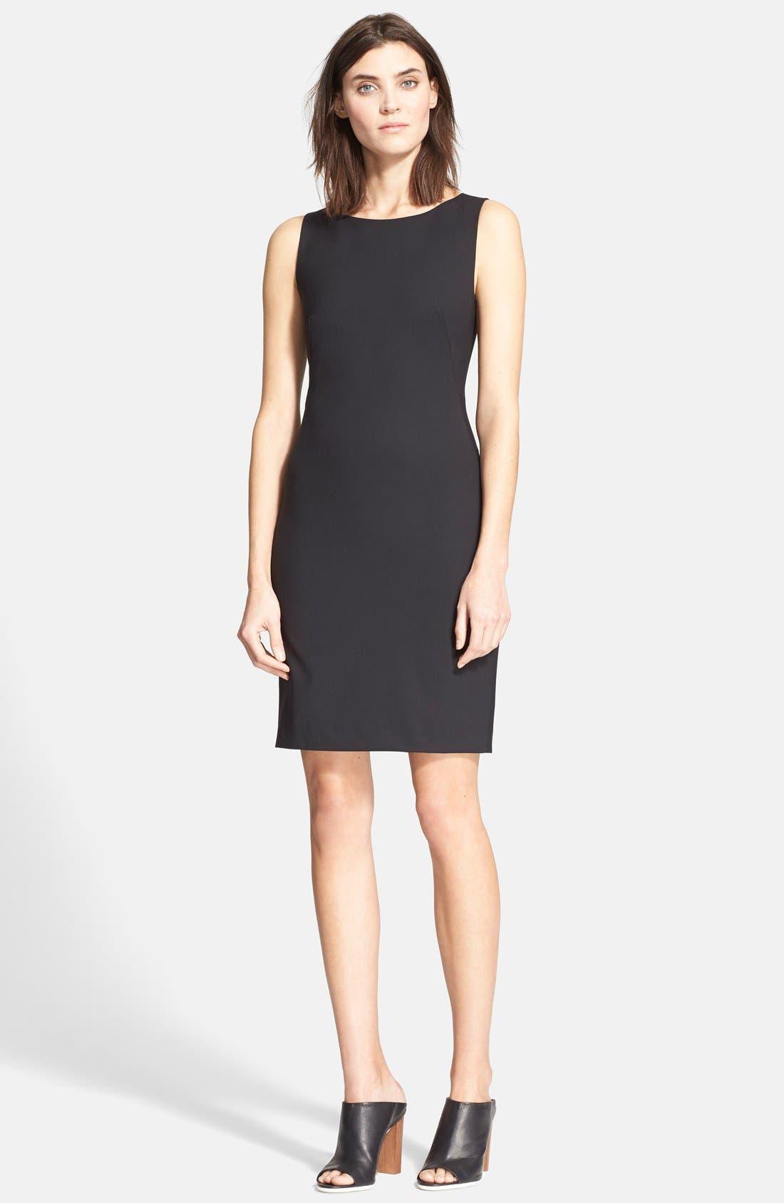 'Betty.2B' Stretch Wool Sheath Dress,                             Alternate thumbnail 3, color,                             BLACK