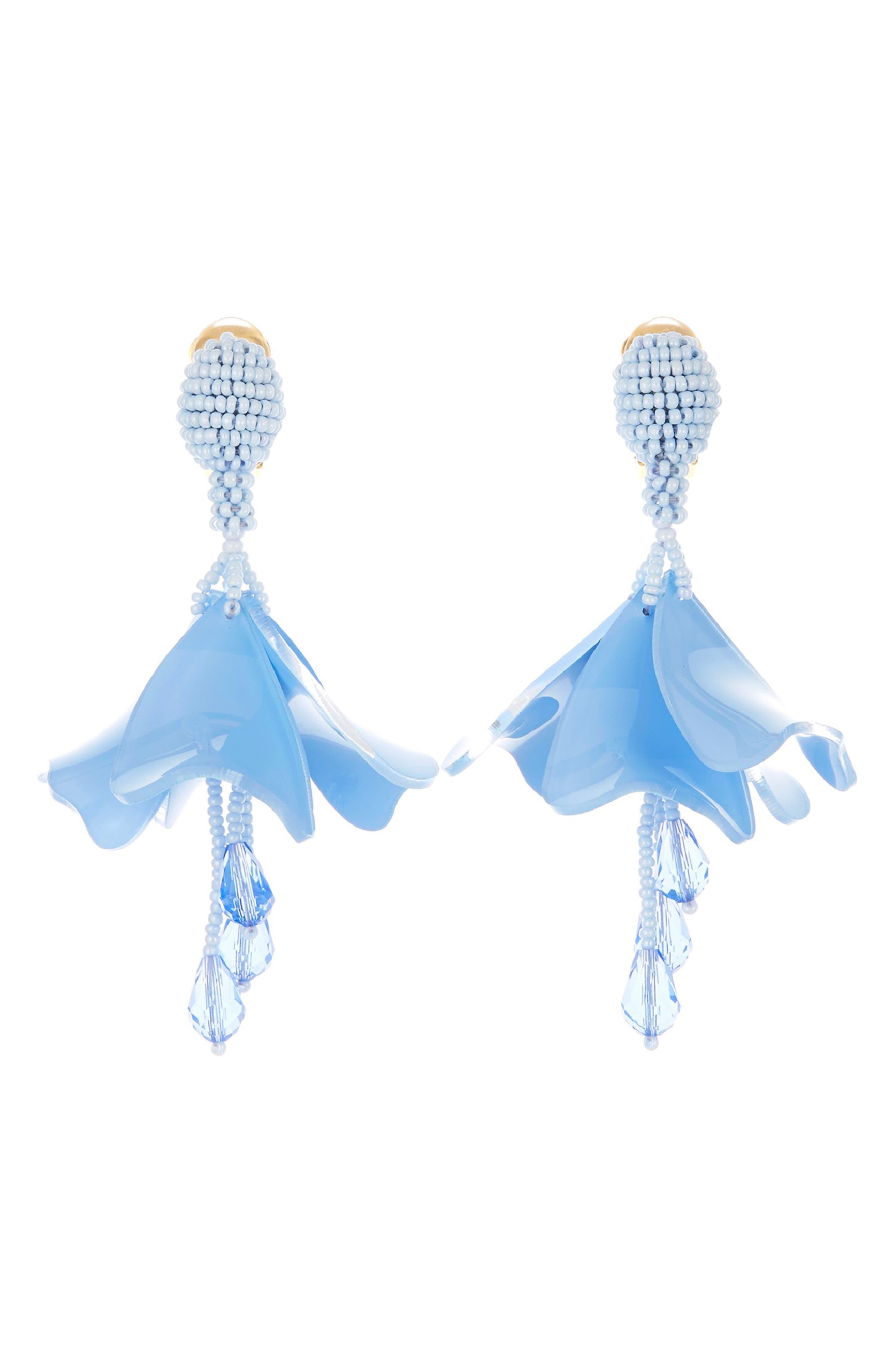 Resort 19 Small Impatiens Clip Earrings,                             Main thumbnail 1, color,                             WEDGEWOOD