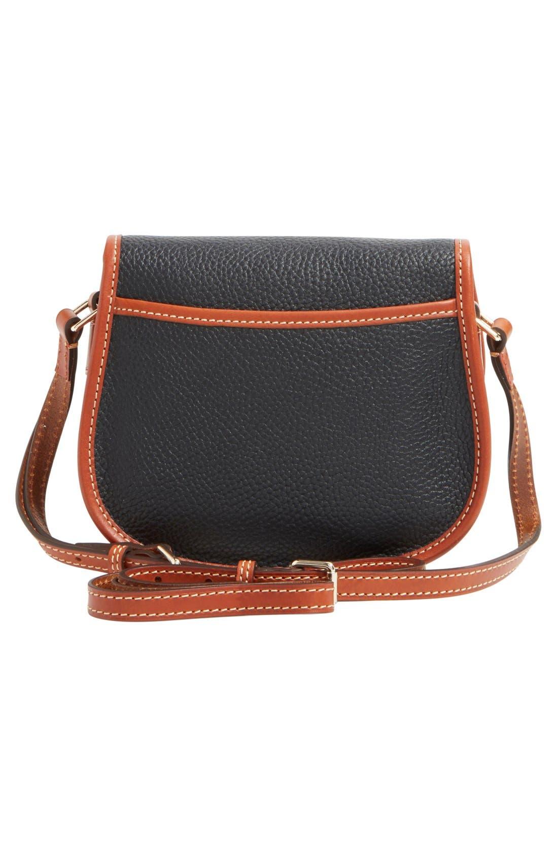 'Hallie' Leather Crossbody Bag,                             Alternate thumbnail 3, color,                             001