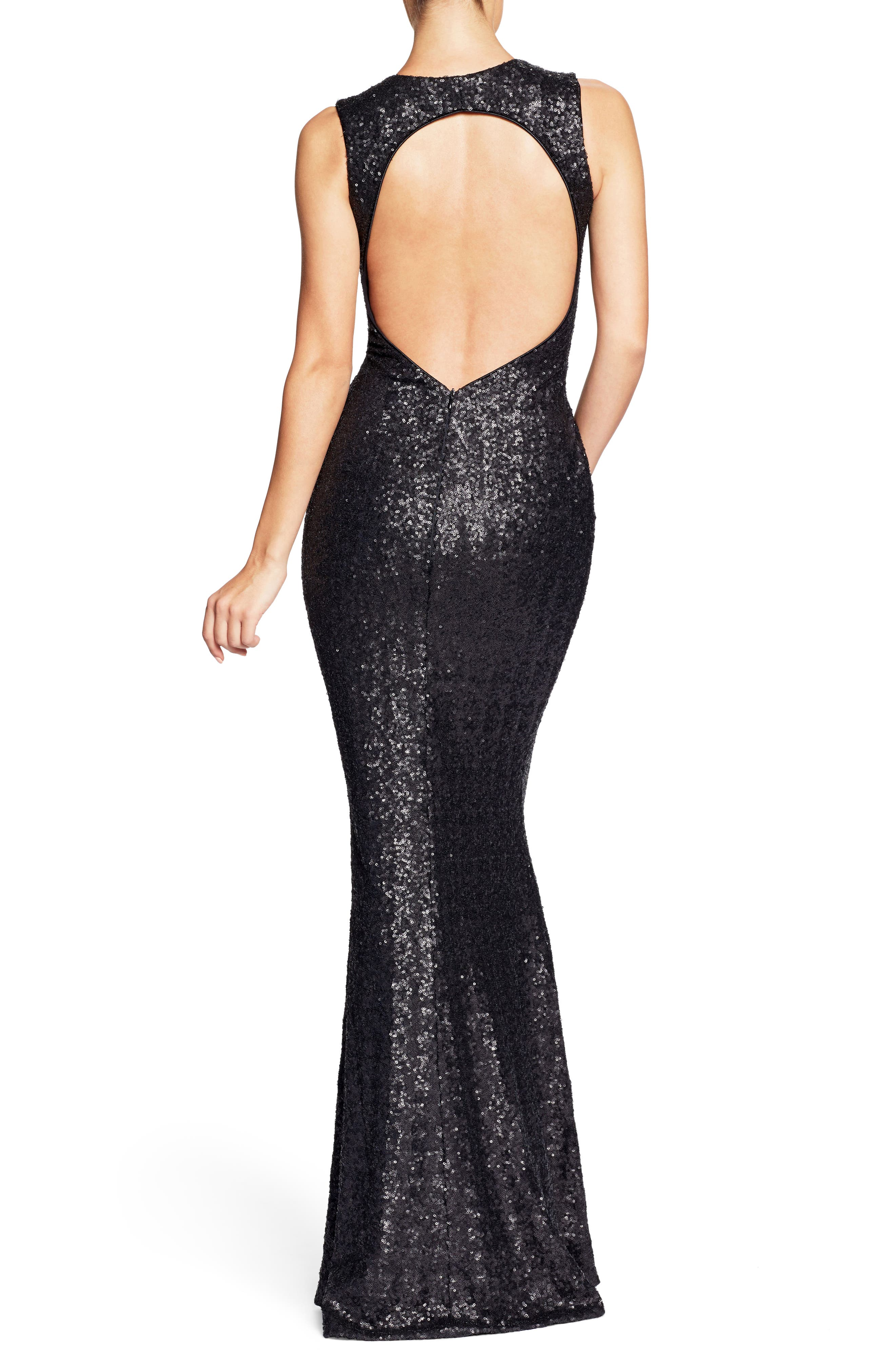 DRESS THE POPULATION, Karina Plunge Mermaid Gown, Alternate thumbnail 2, color, 018