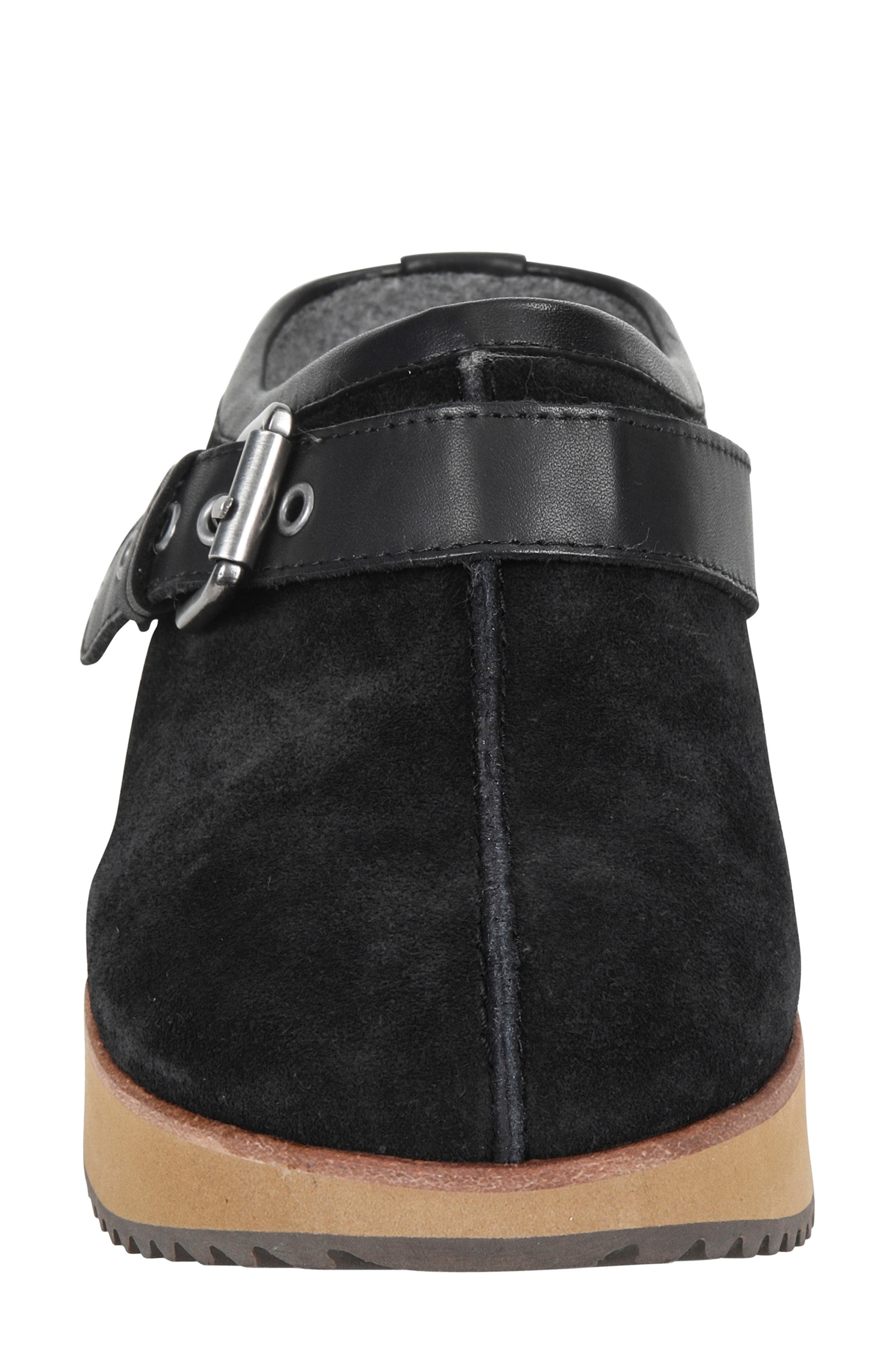 Lyra Buckle Clog,                             Alternate thumbnail 4, color,                             BLACK SUEDE