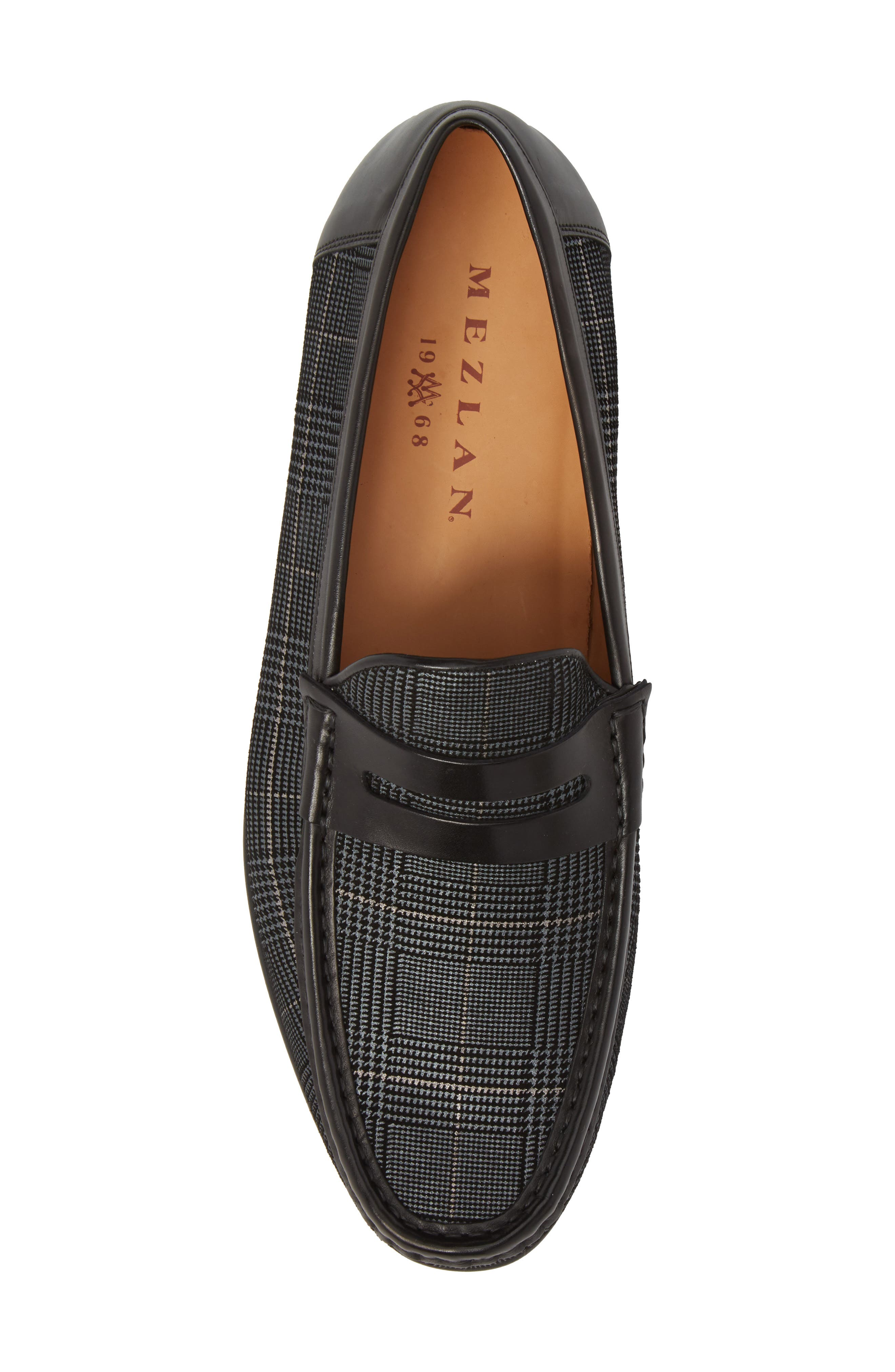 Lares I Houndstooth Penny Loafer,                             Alternate thumbnail 5, color,                             BLACK SUEDE/ LEATHER