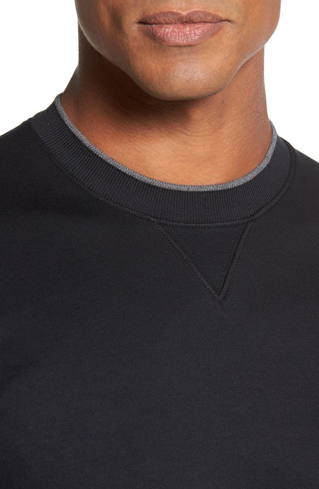 'Walker' Tipped Pima Cotton Long Sleeve T-Shirt,                             Alternate thumbnail 4, color,                             001